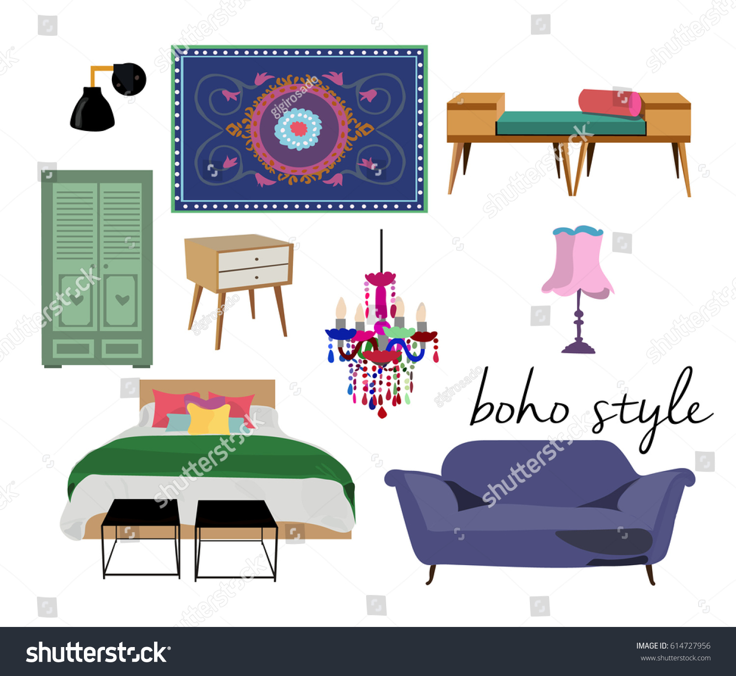 Bohemian Style Furniture Set Interior Design Collectioncolorful Bright Cute Elementsbed Rug