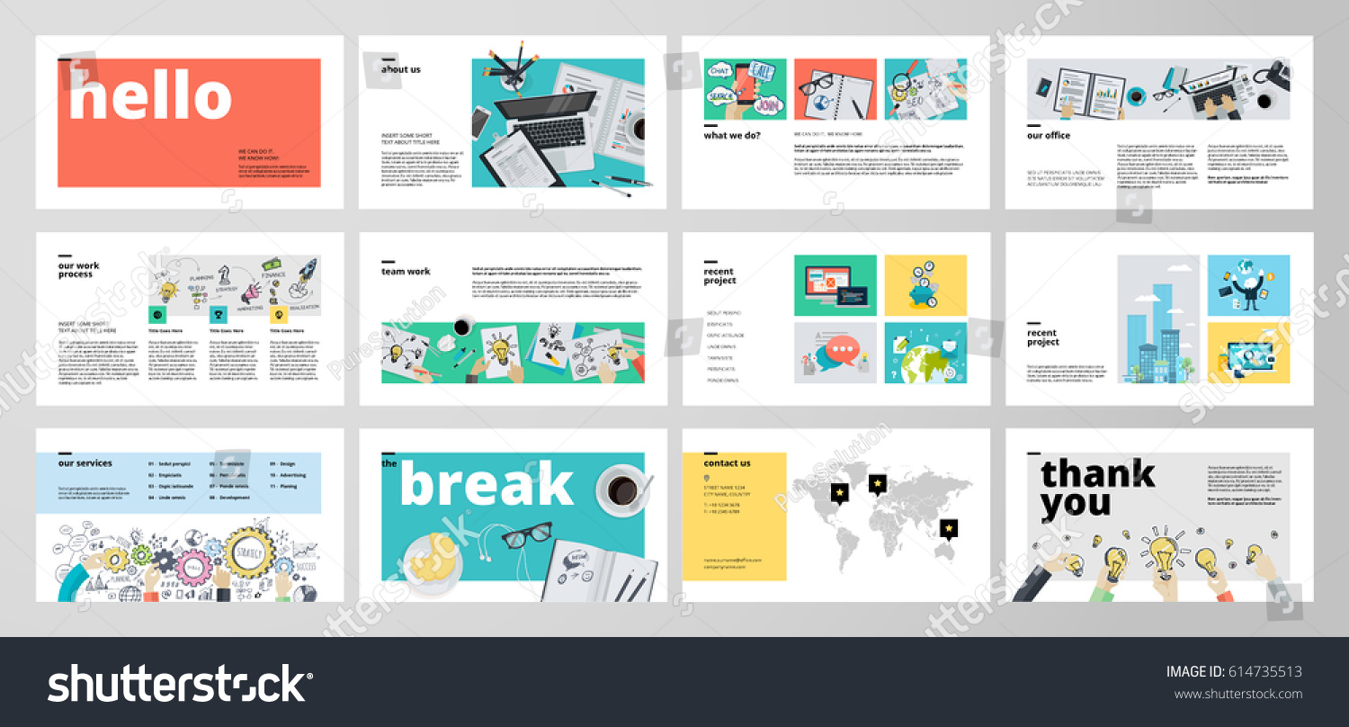 business presentation templates flat design vector のベクター画像