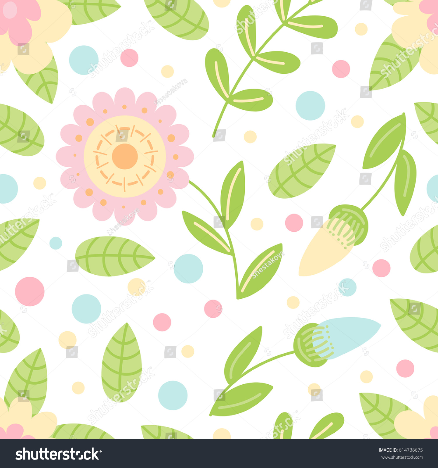 Floral Simple Vector Flower Seamless Pattern Stock Vector Royalty