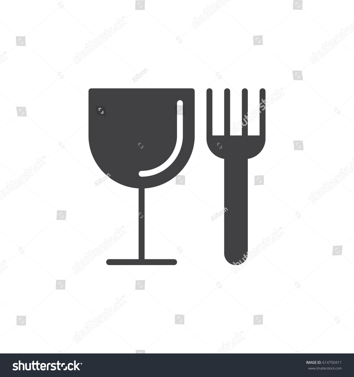 Food Fork Glass Icon Vector Filled Stock Vector Royalty Free