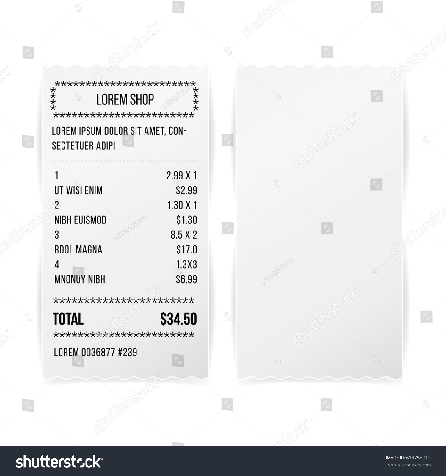 sales printed receipt white empty paper stock vector royalty free