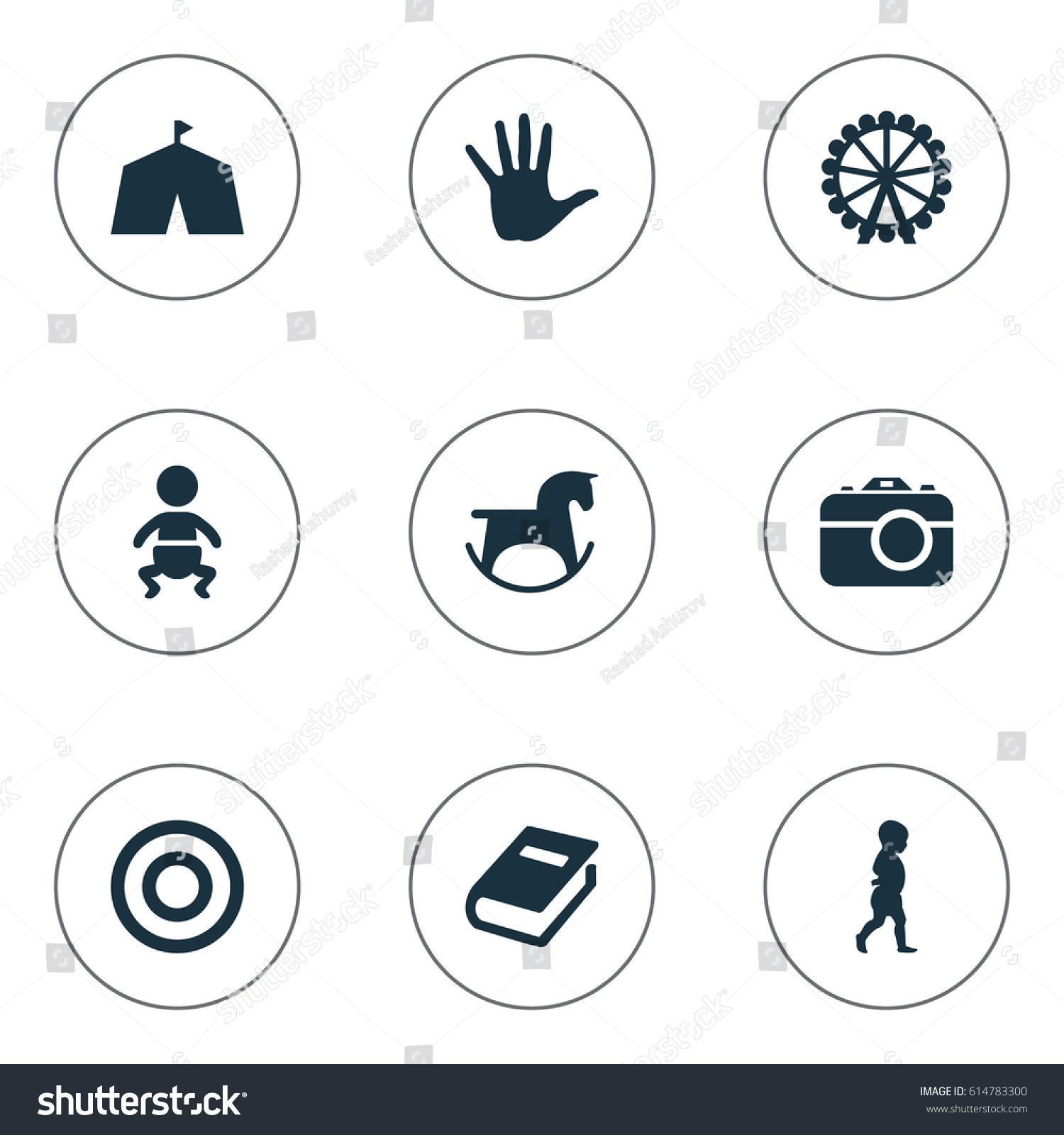 Vector Illustration Set Of Simple Kid Icons. Elements Tent Ferris Wheel Palm And  sc 1 st  Shutterstock & Vector Illustration Set Simple Kid Icons Stock Vector 614783300 ...