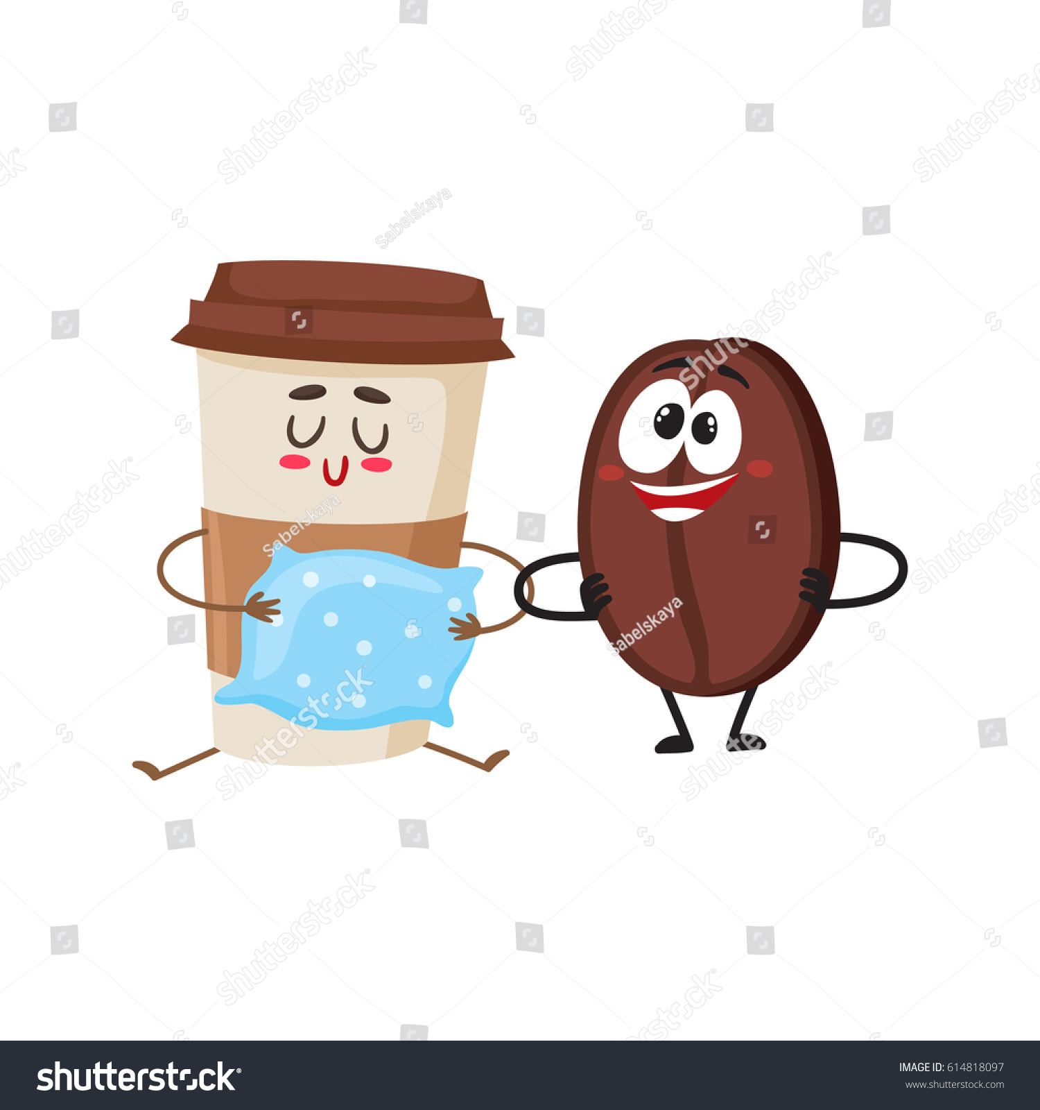 Larger preview vector clip art of a happy yellow coffee cup character - Crazy Coffee Bean And Sleepy Paper Cup Characters Breakfast Morning Wake Up Concept
