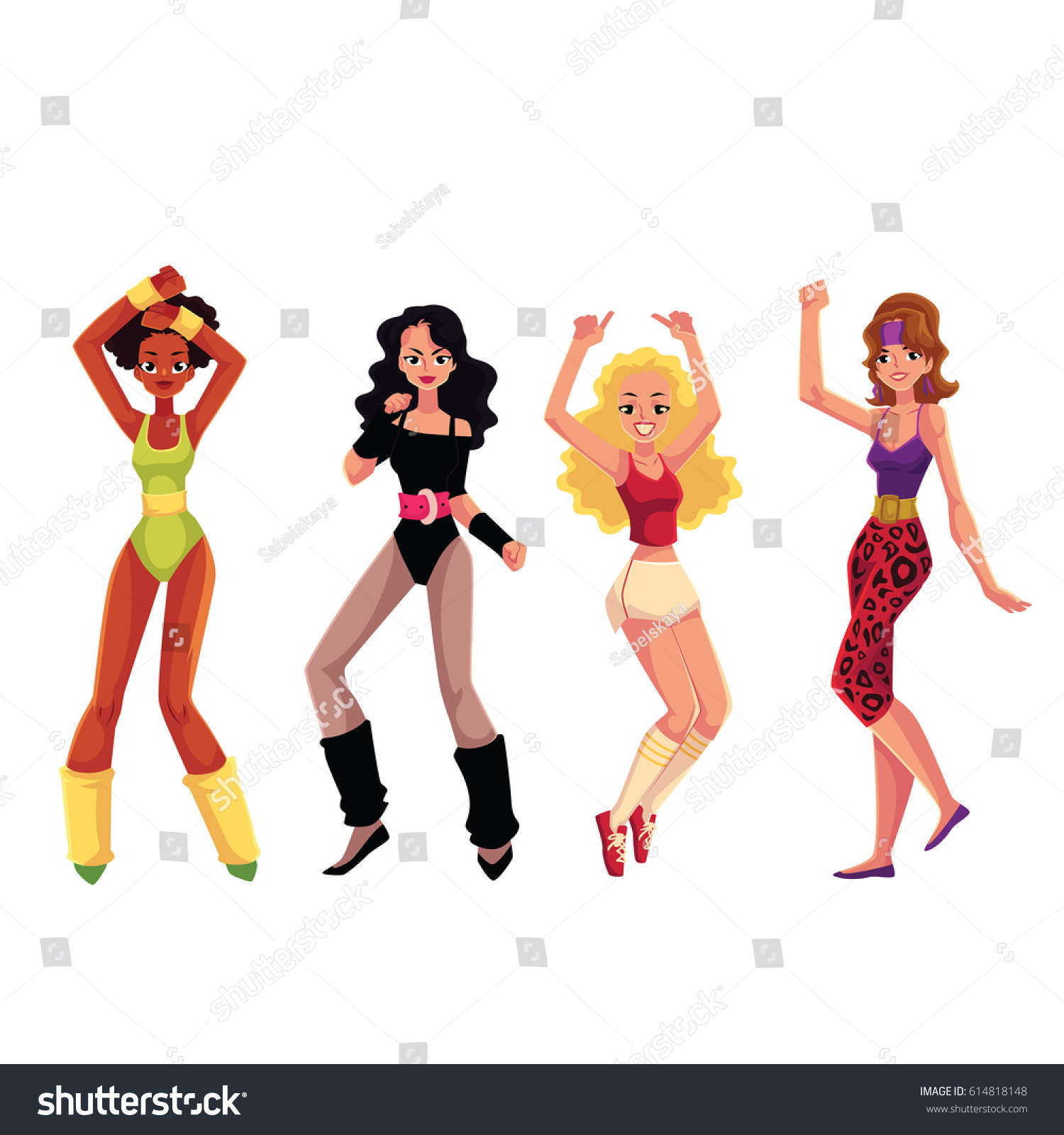 Girls Women 80 S Style Aerobics Outfit Stock Vector Royalty Free