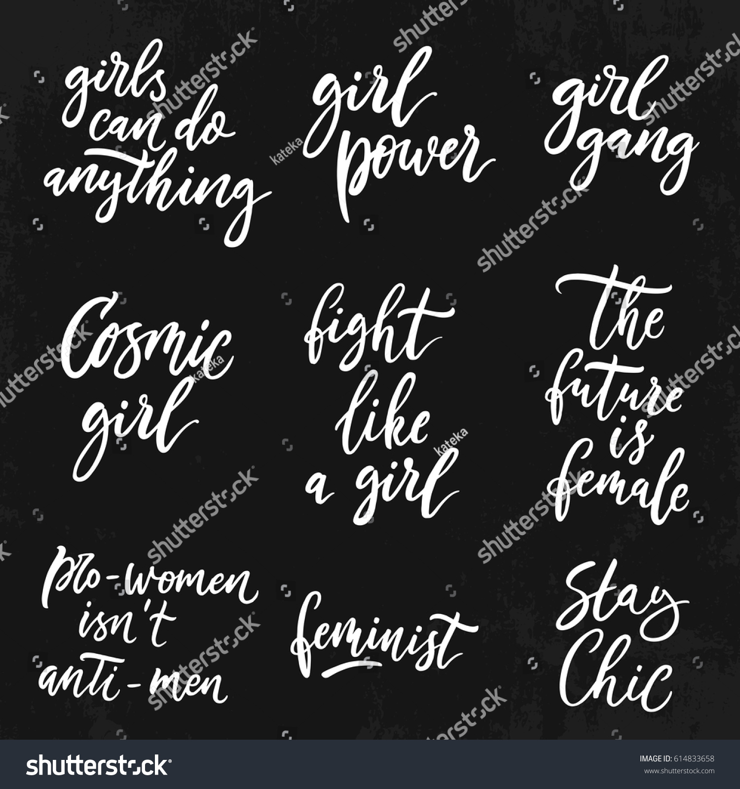 Inspirational Slogans Feminist Quotes Set Woman Motivational Signs Stock Vector