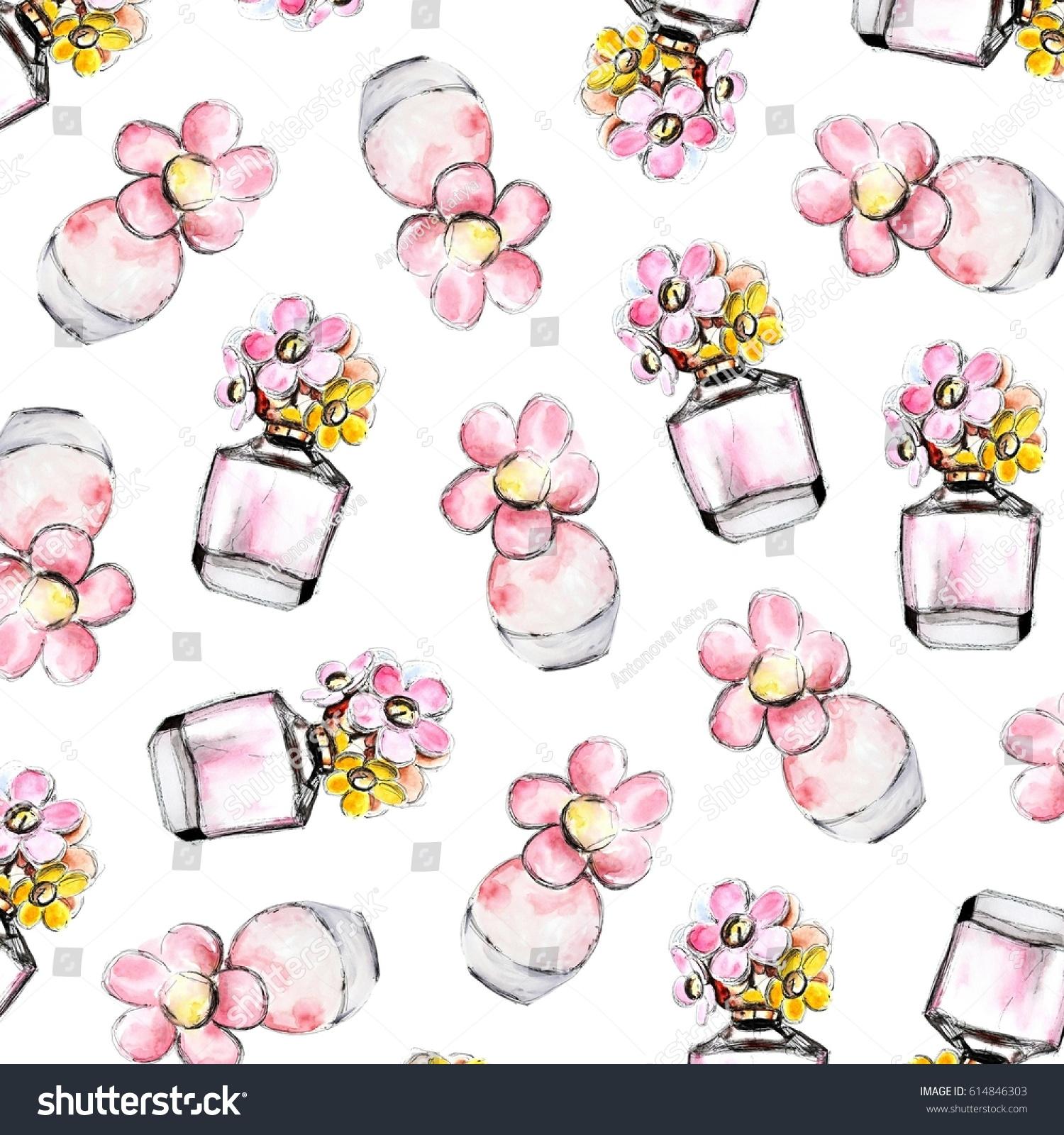 Pink Flower Perfume Floral Fragrance Woman Stock Illustration
