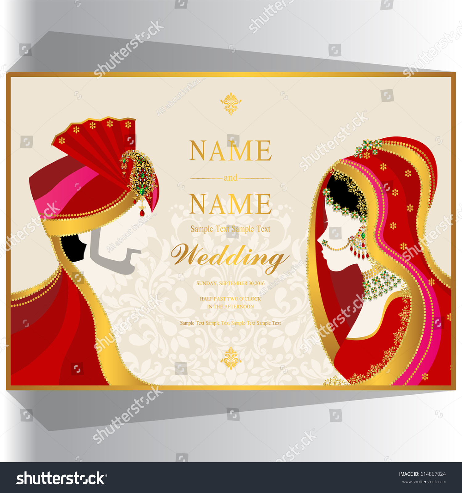 Wedding Invitation Card Templates Indian Man Stock Photo (Photo ...