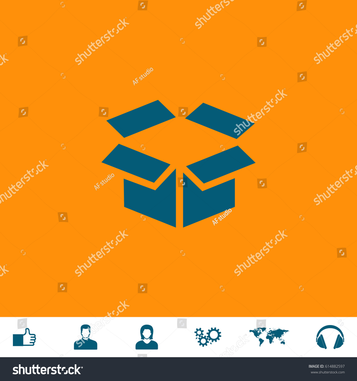 Open Box Blue Symbol Icon On Stock Photo Photo Vector
