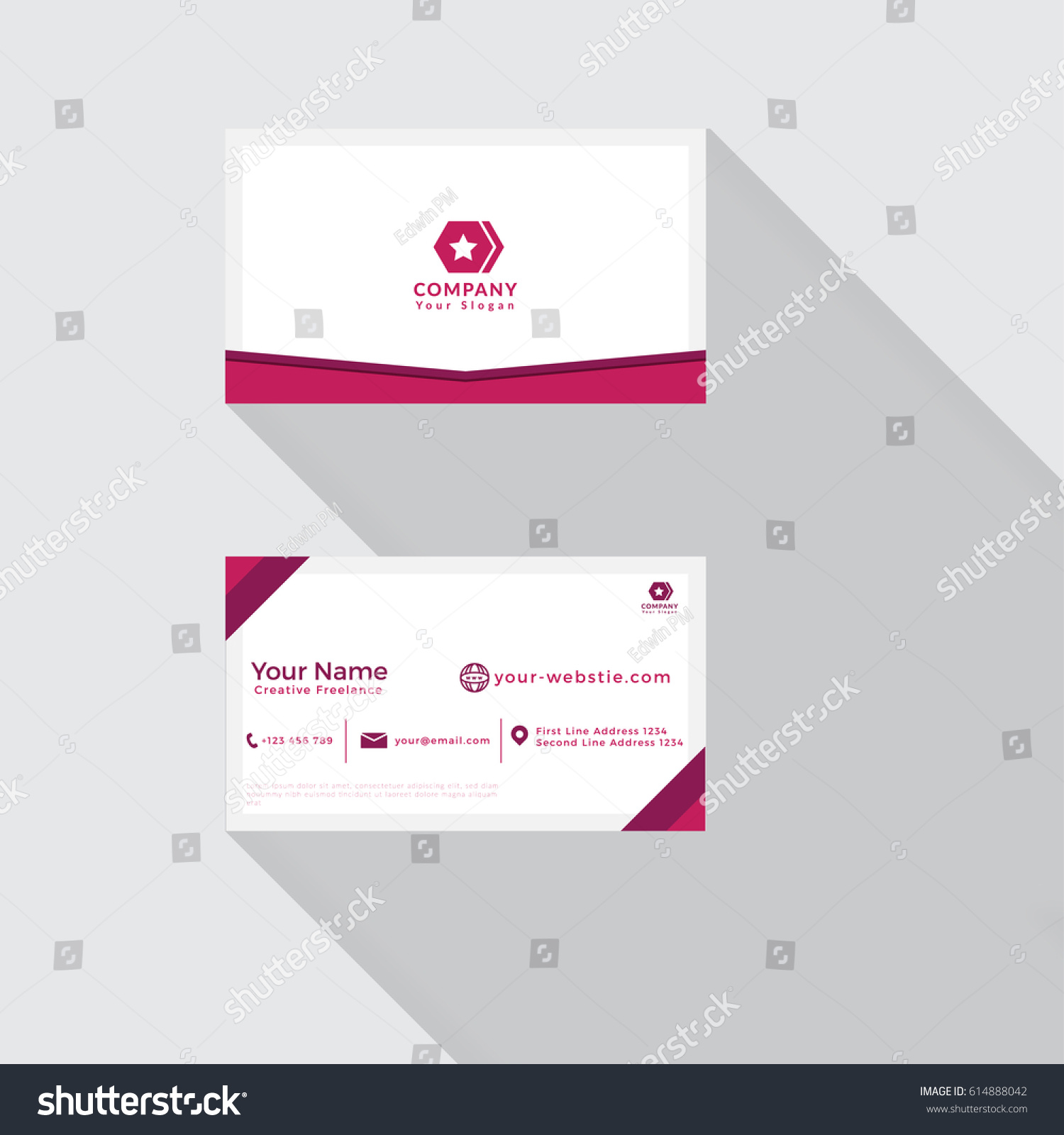 Simple Professional Business Card Template Pink Stock Vector ...