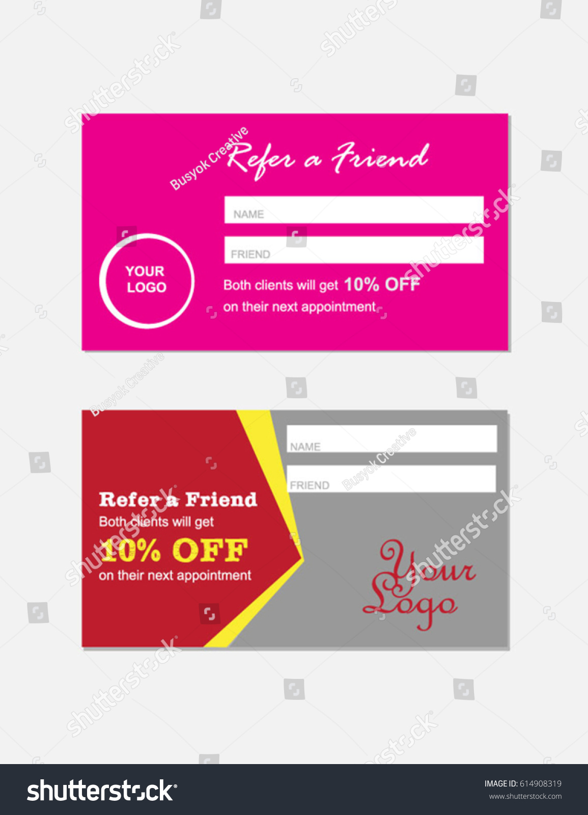 Refer Friend Card Template Design Concept Stock Vector Royalty Free