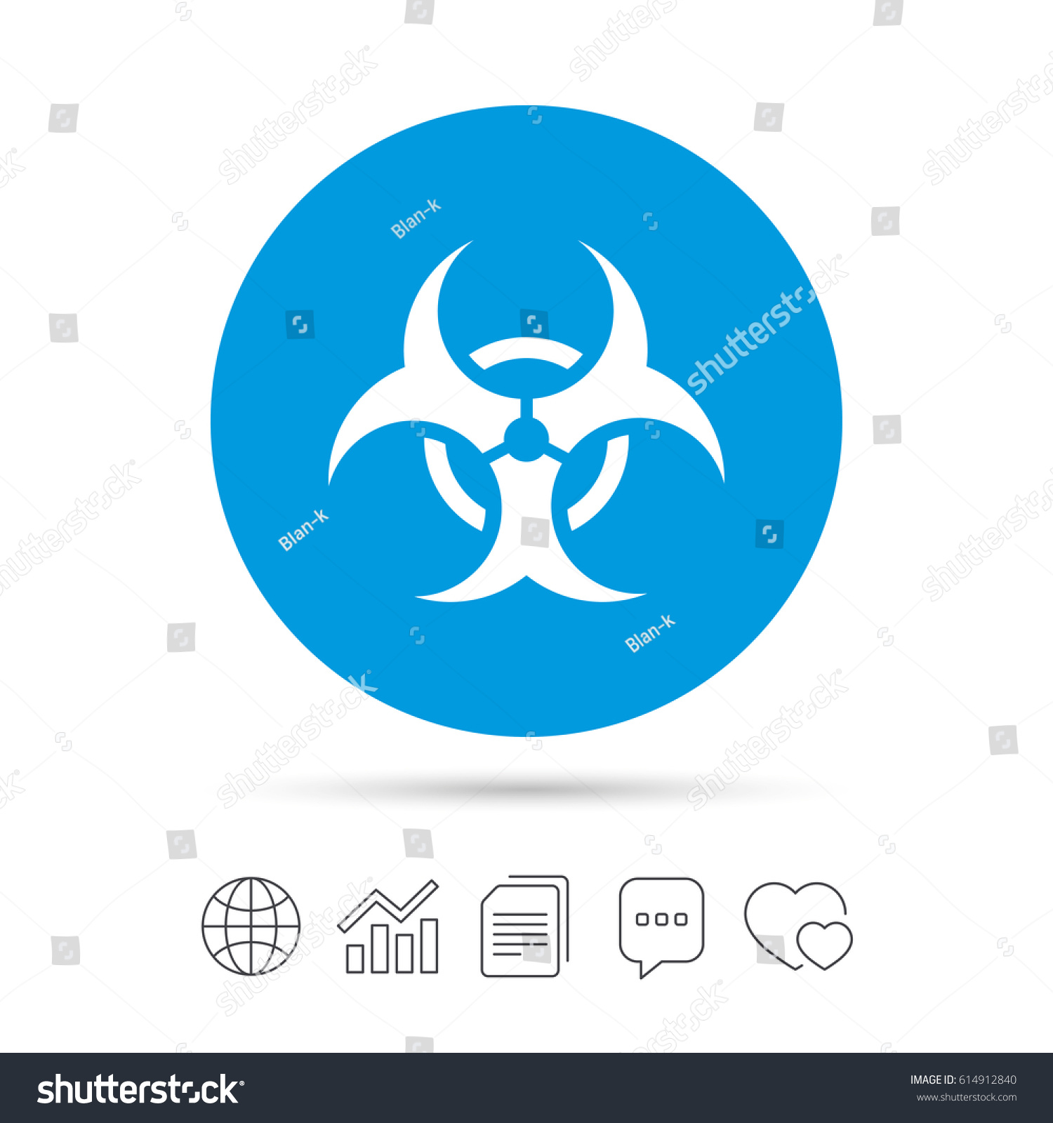 8cf01982626d69 Biohazard sign icon. Danger symbol. Rounded squares 11 buttons.