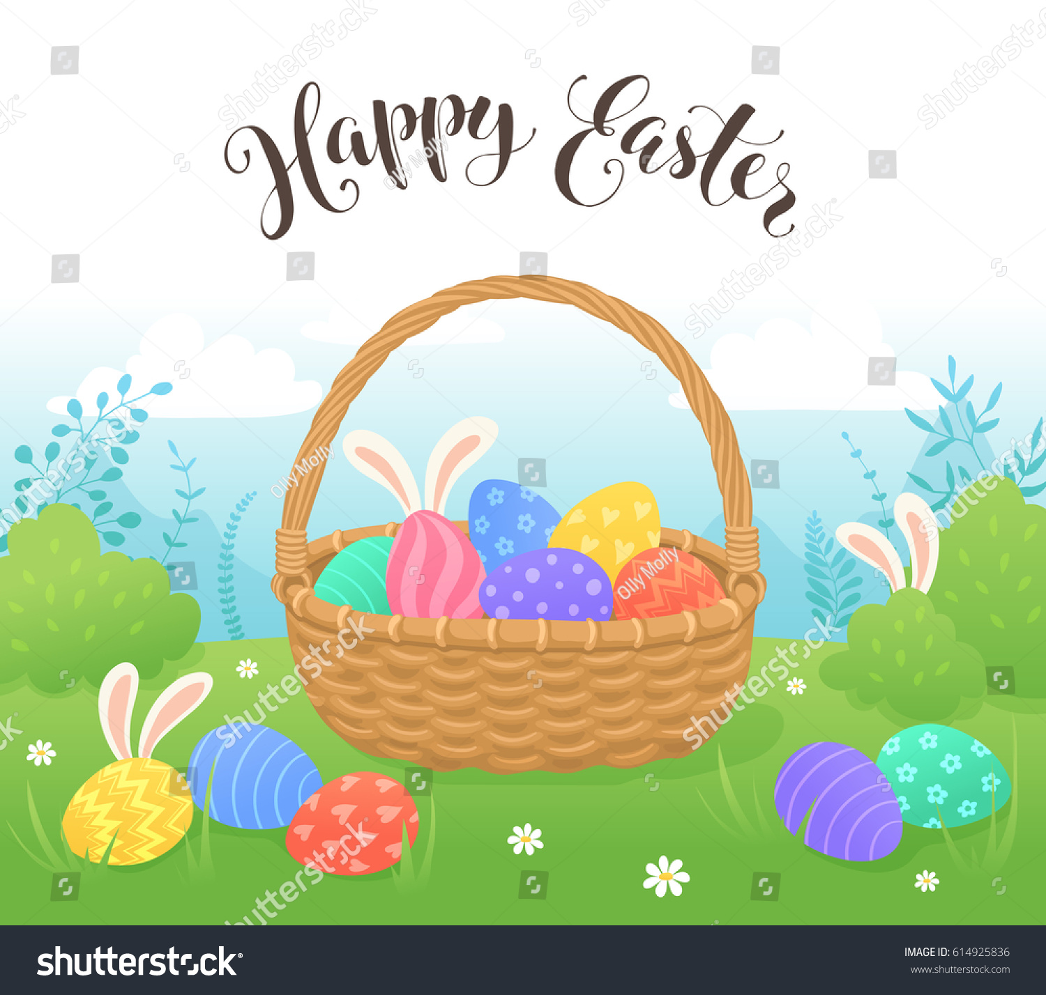 happy easter greeting card cartoon style stock vector 614925836