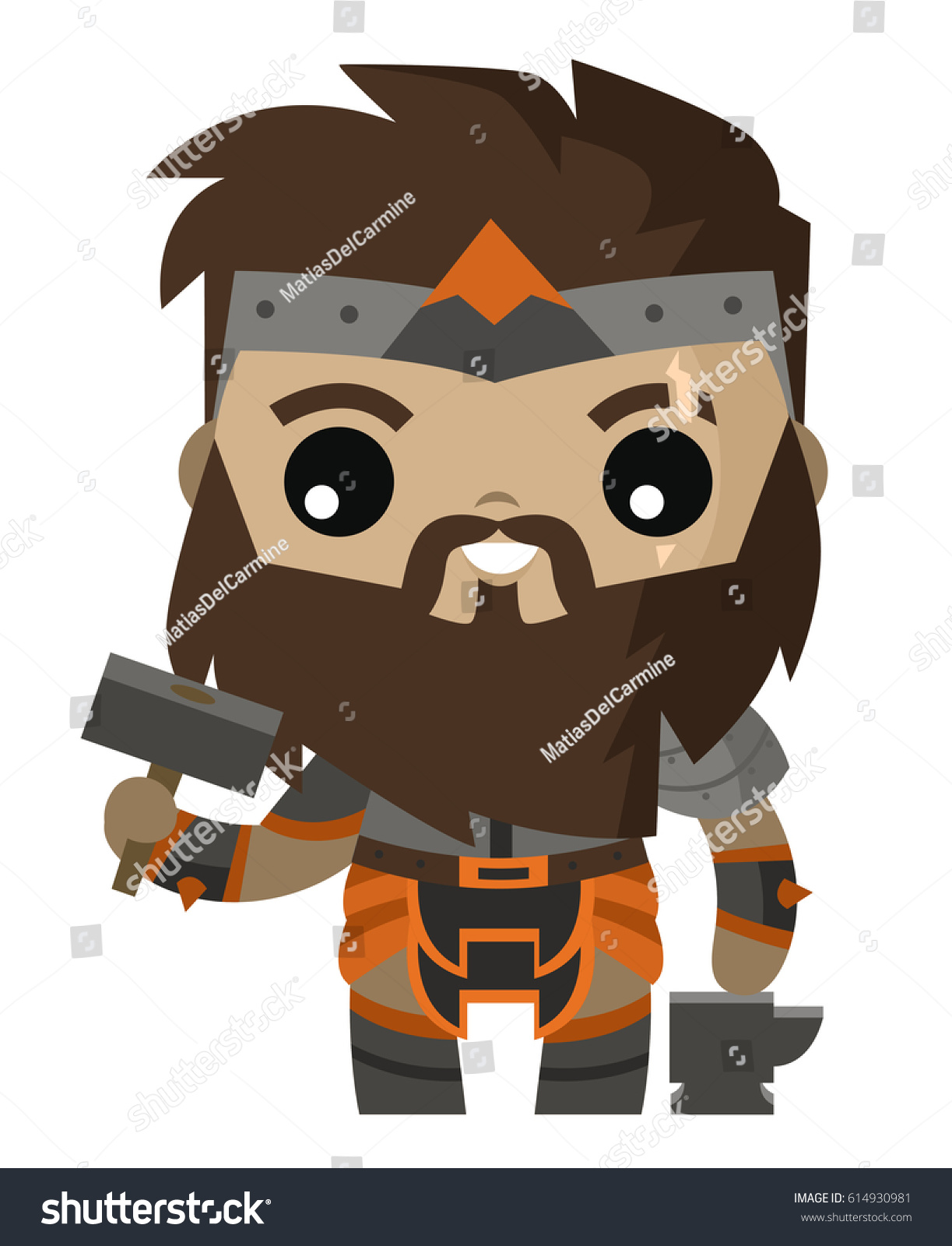 hephaestus vulcan tiny cute god blacksmiths stock vector 614930981