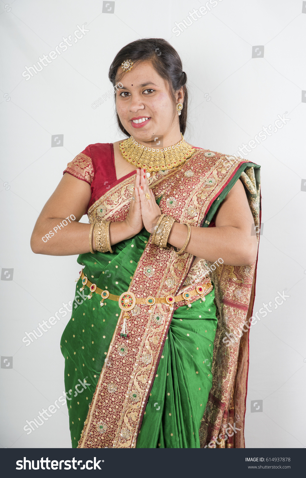 Portrait Traditional Indian Women Saree Traditional Stock Photo