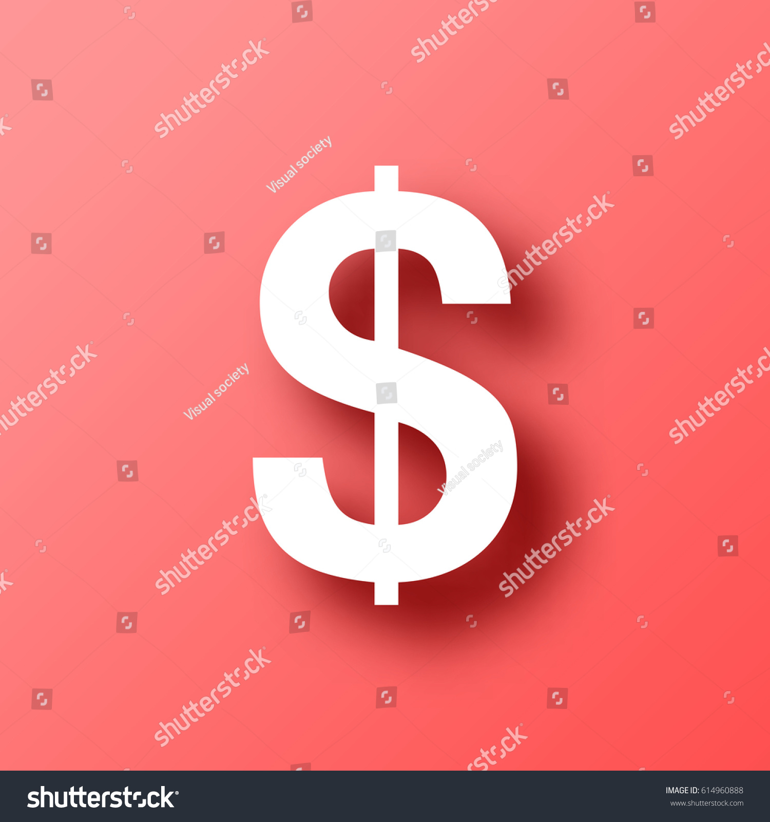 Dollar Sign Isolated On Red Background Stock Vector (2018) 614960888 ...