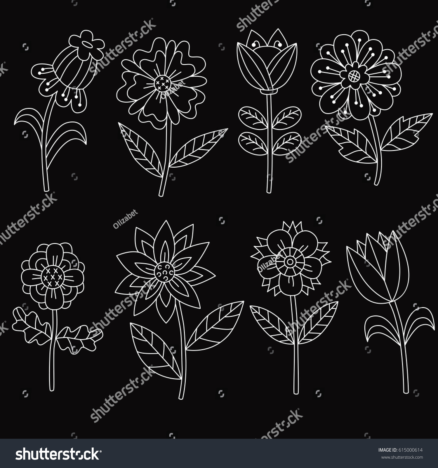 Black and white doodle different flowers cute nice adorable floral icons hand drawn childish drawing