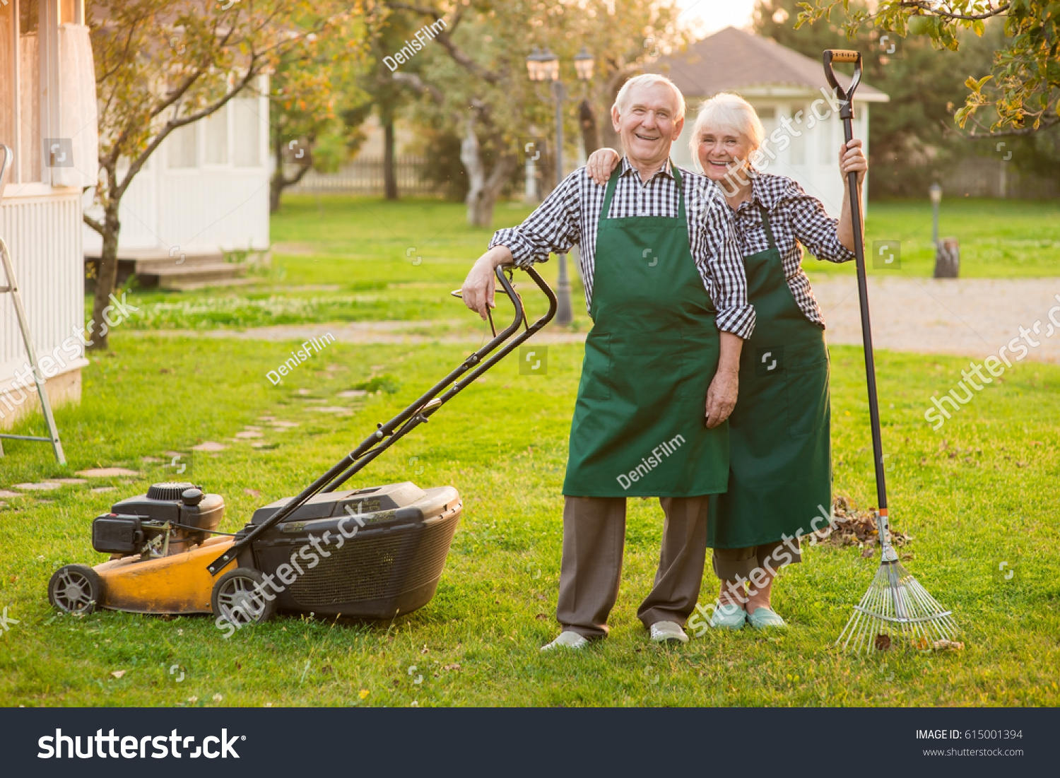 Smiling couple senior gardeners happy people stock photo for Garden maintenance jobs