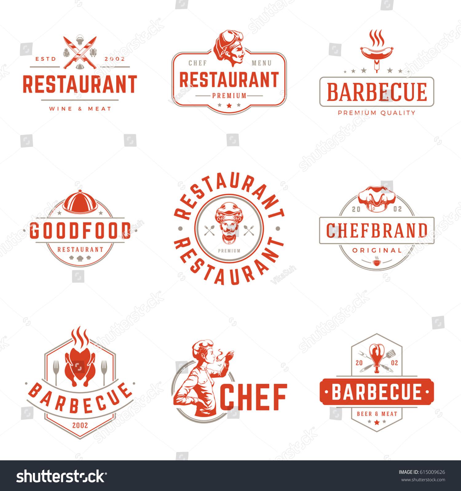 Restaurant logos templates vector objects set stock