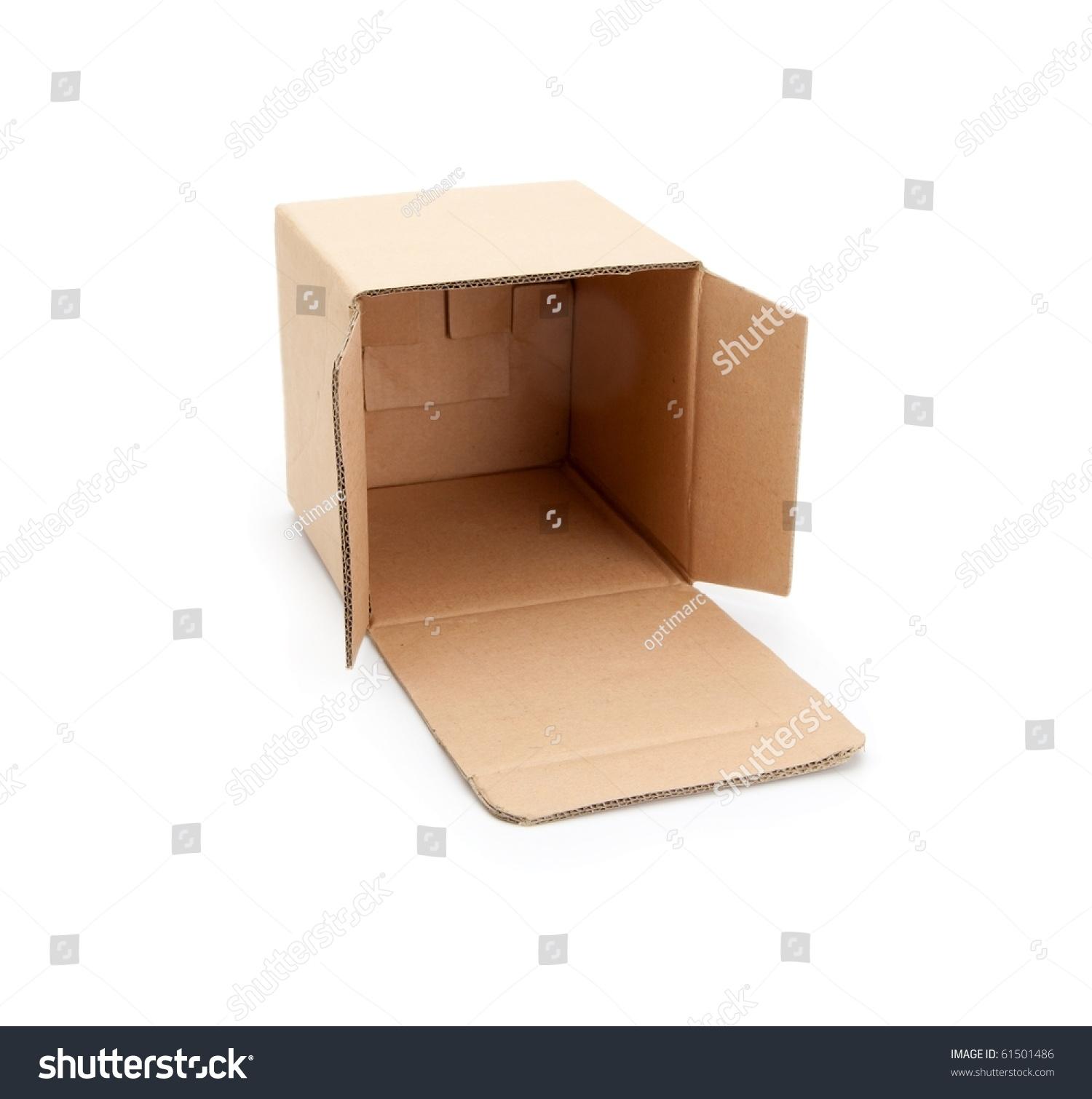 cardboard box open lid isolated on stock photo 61501486