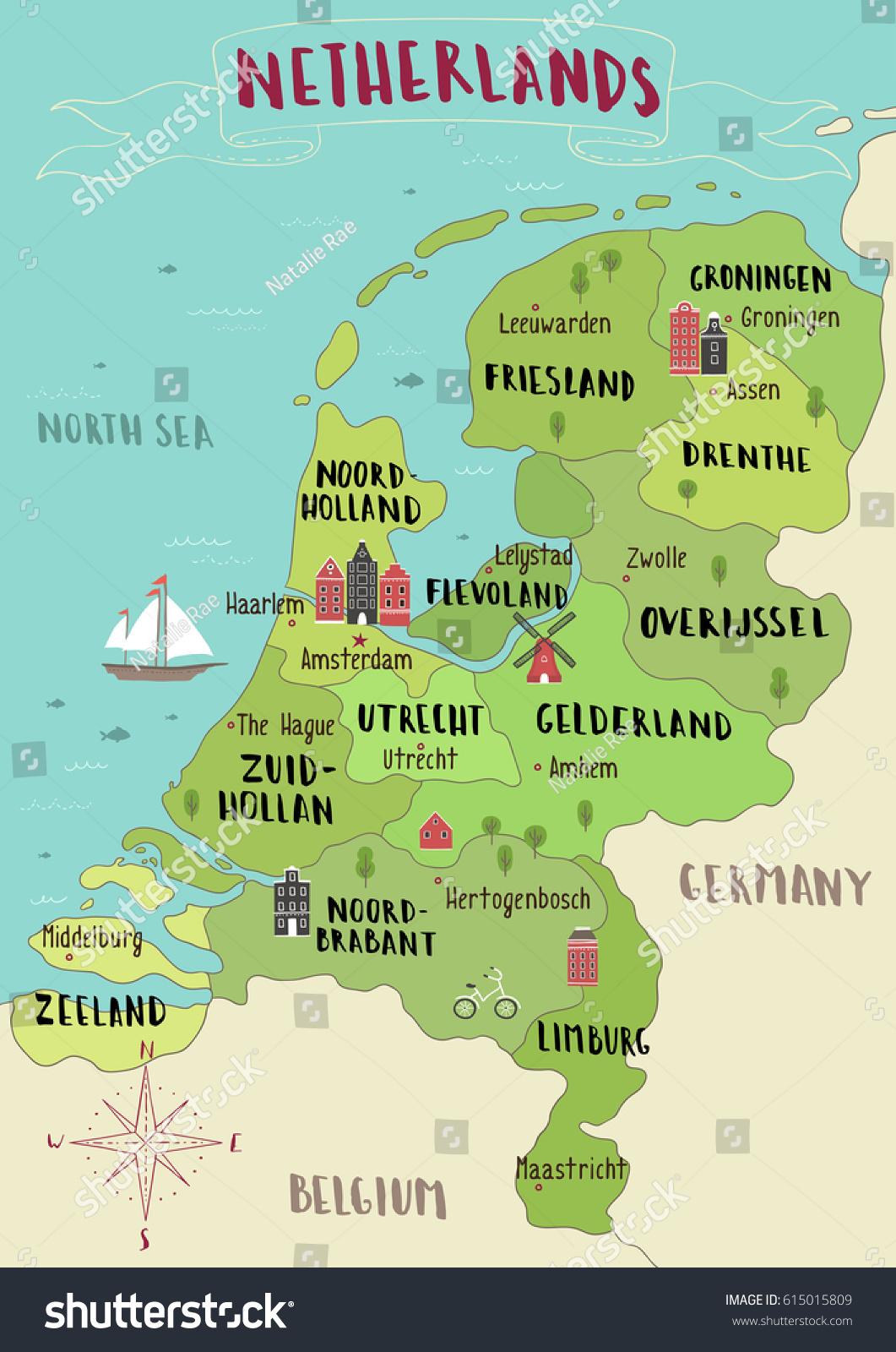 Illustrated Map Netherlands Stock Vector 2018 615015809 Shutterstock
