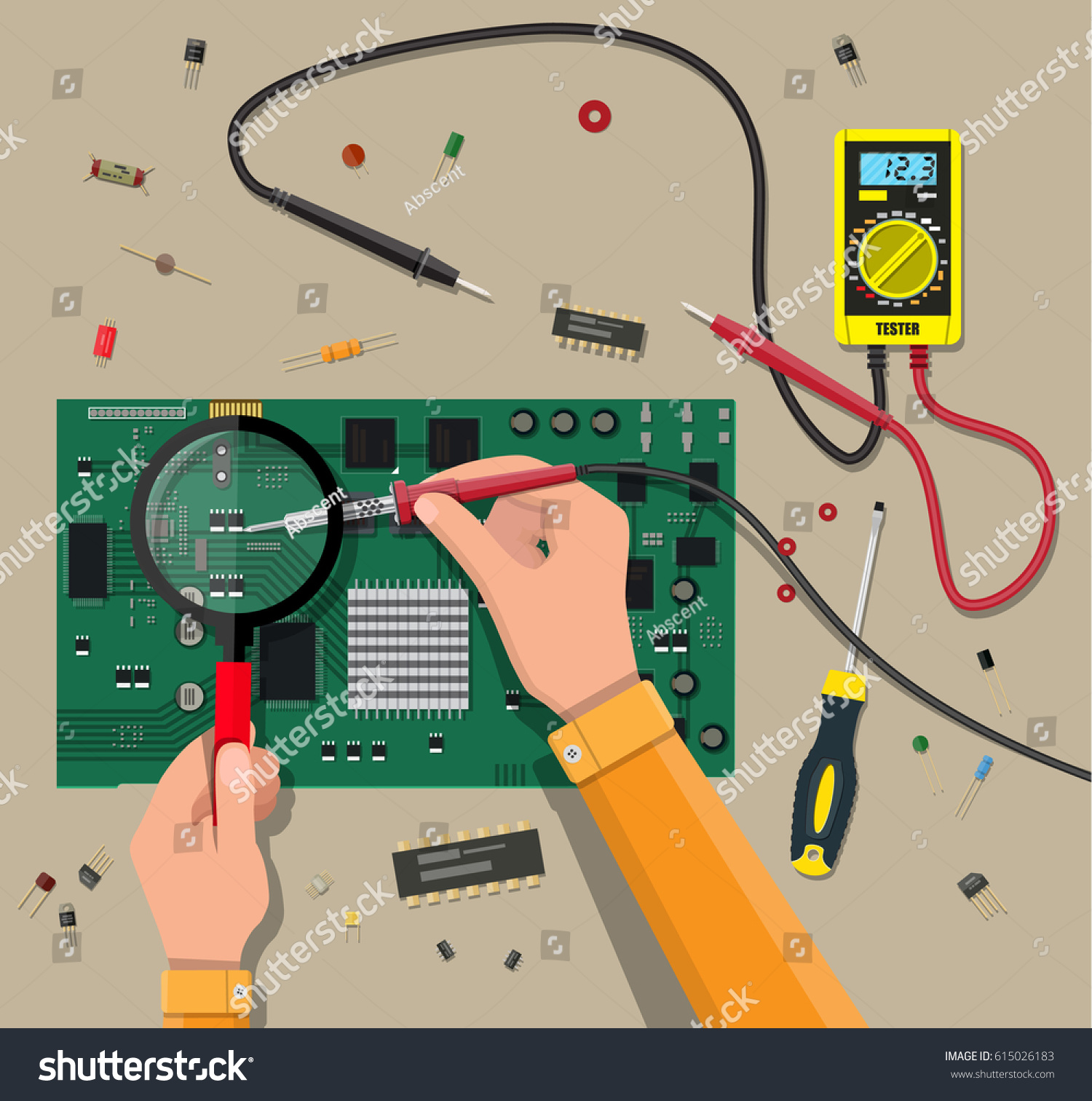 Hands Engineer Digital Multimeter Soldering Tool Stock Vector Voltmeter Wiring Diagram Of With And Checks Motherboard Pc Hardware Components