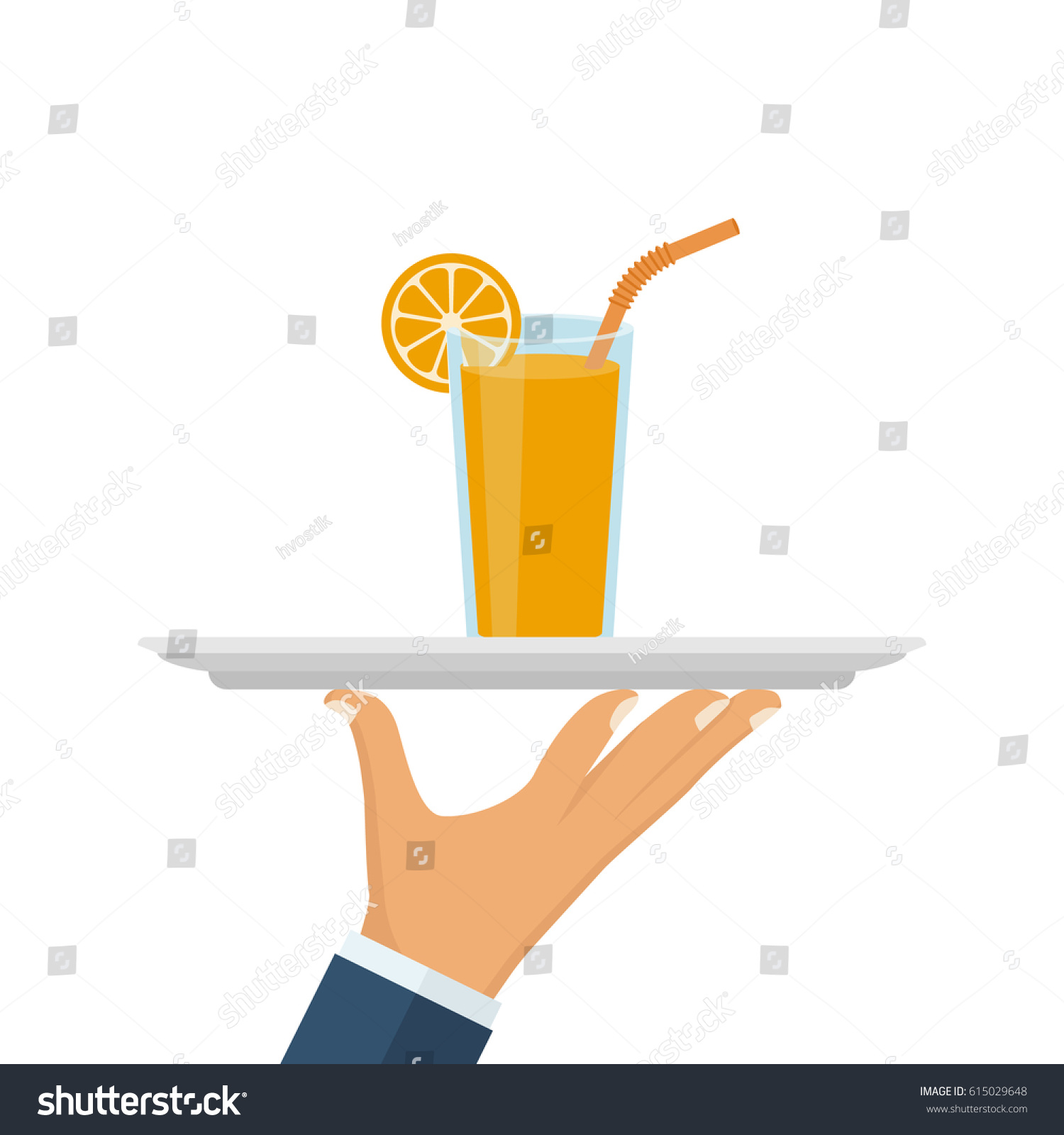 Glass juice cups design - Orange Juice In Glass Cup On Tray In Hand Of Waiter Vector Illustration Flat Design