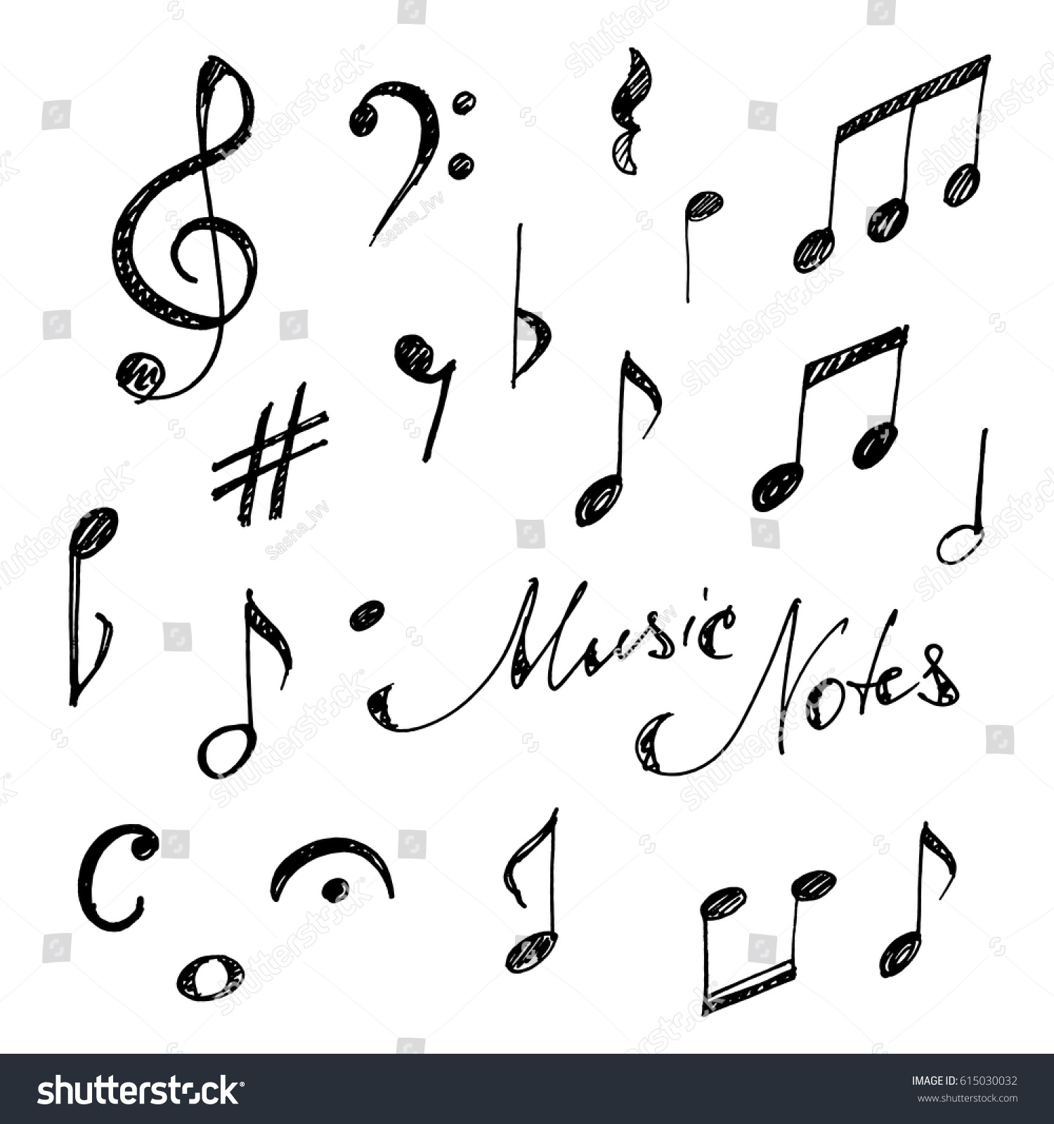 Hand Drawn Music Notes Set Sketch Vector Illustration Ez Canvas