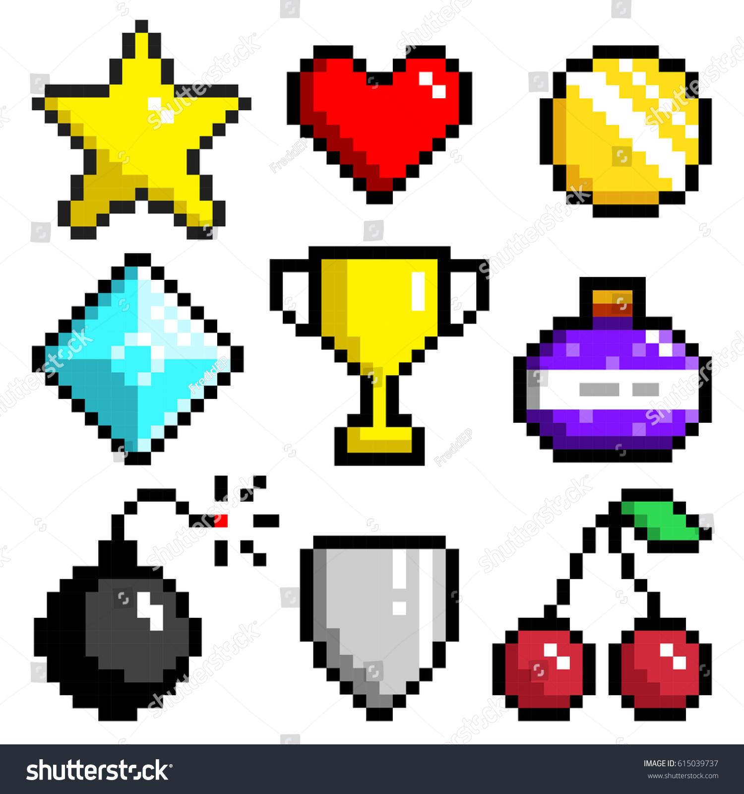 set minimalistic pixel art vector objects stock vector royalty free