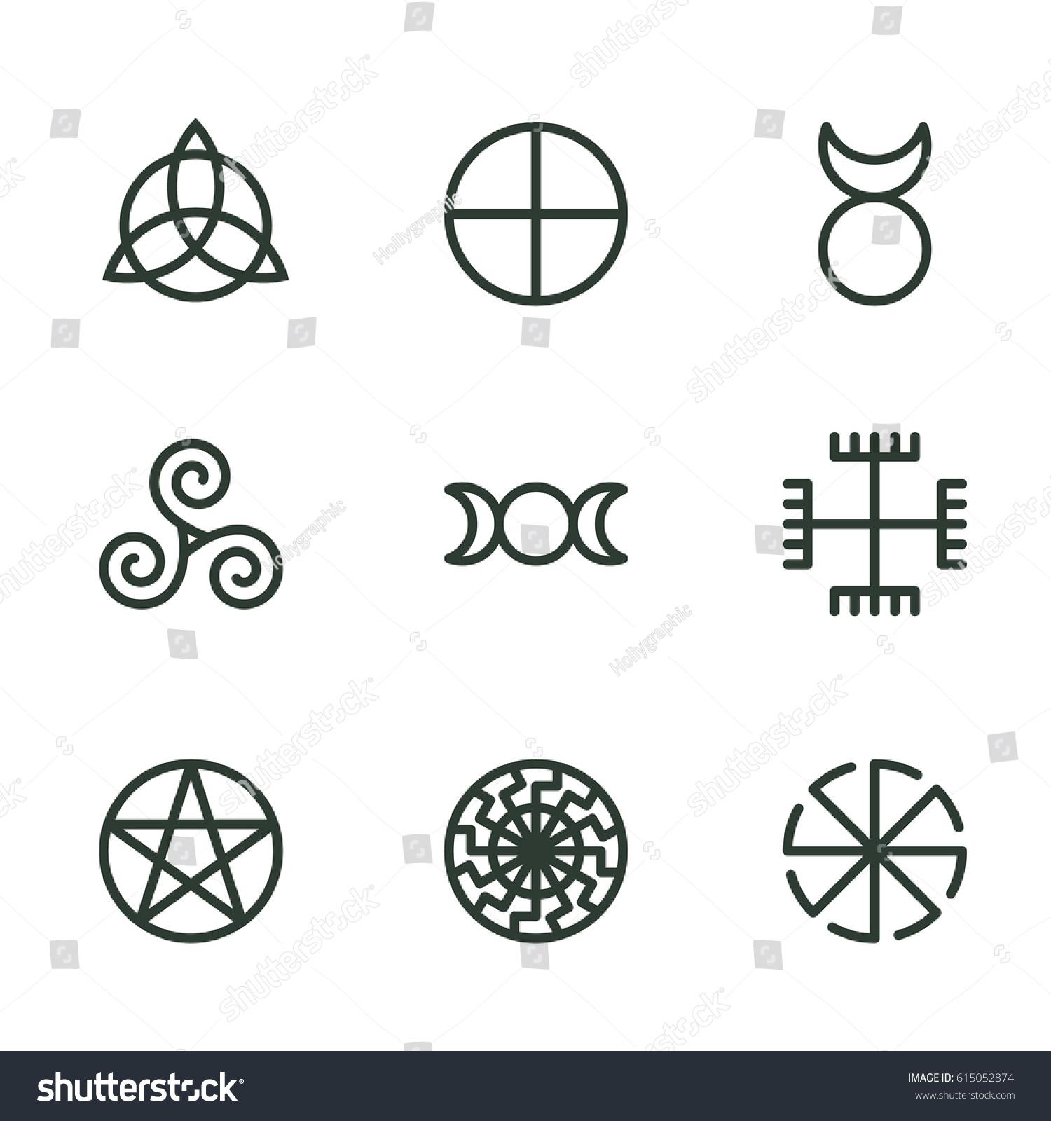 Pagan ancient symbols mystery sacred icons stock vector 615052874 pagan ancient symbols mystery sacred icons illustration vector buycottarizona Images
