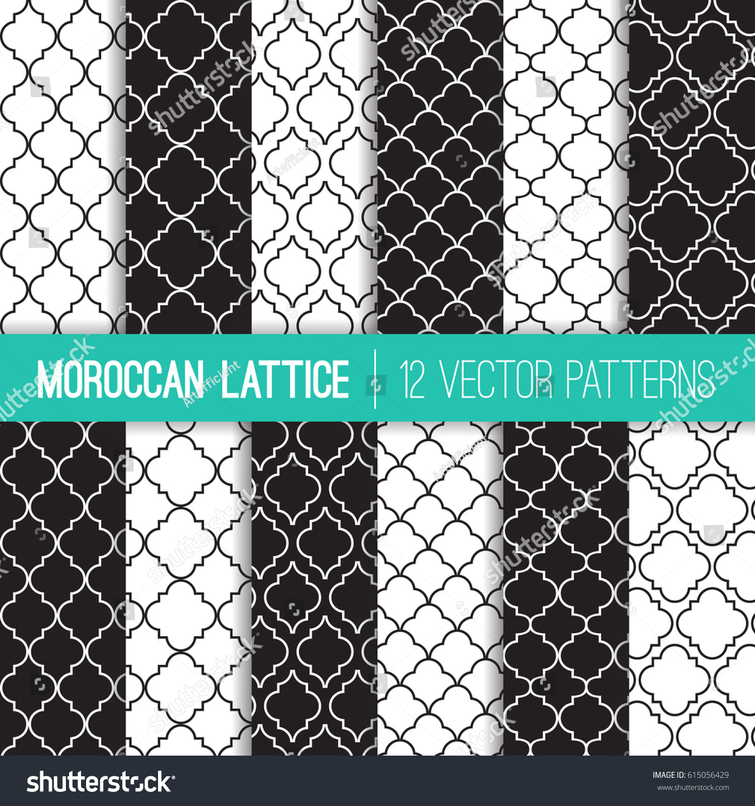 Black White Moroccan Lattice Vector Patterns Stock Vector (Royalty ...