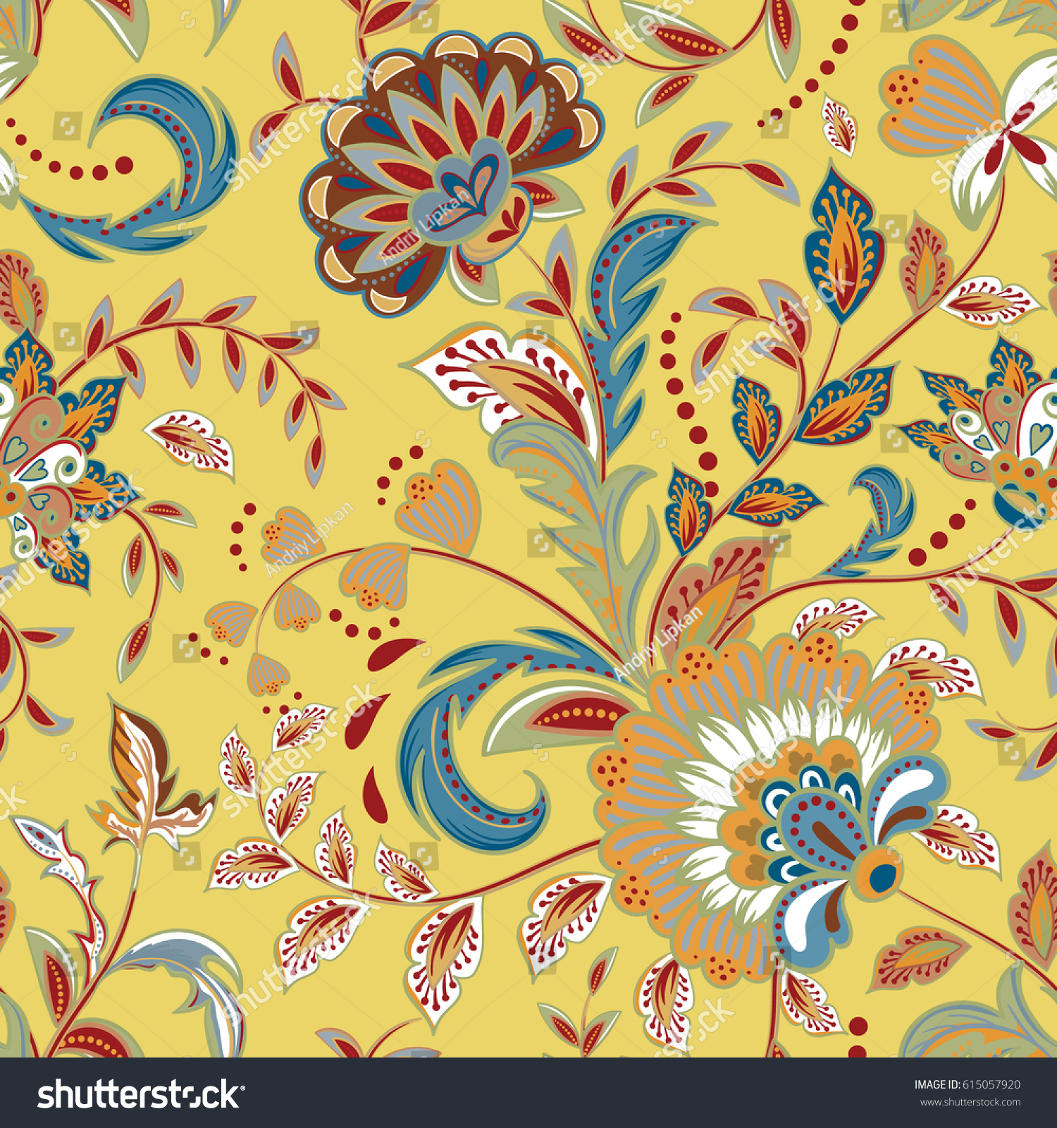 Seamless Pattern Fantasy Flowers Natural Wallpaper Stock Vector ...