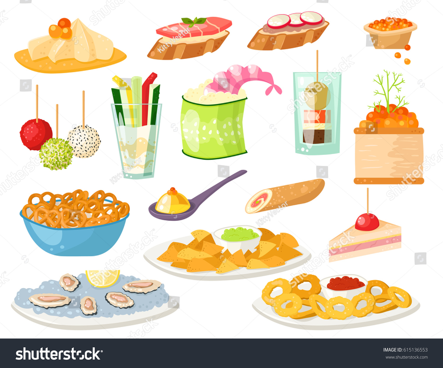 Various meat canape snacks appetizer fish stock vector for Canape banquette