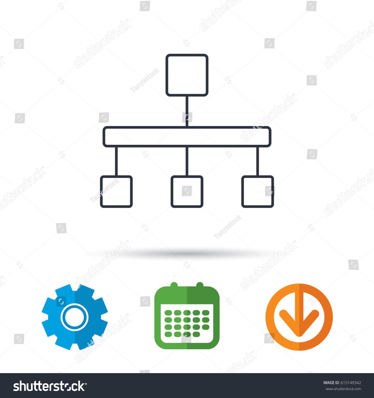 Hierarchy Icon Organization Chart Sign Database Stock Vector