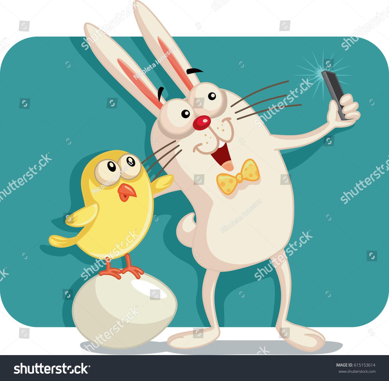 happy easter bunny taking selfie stock vector 615153614