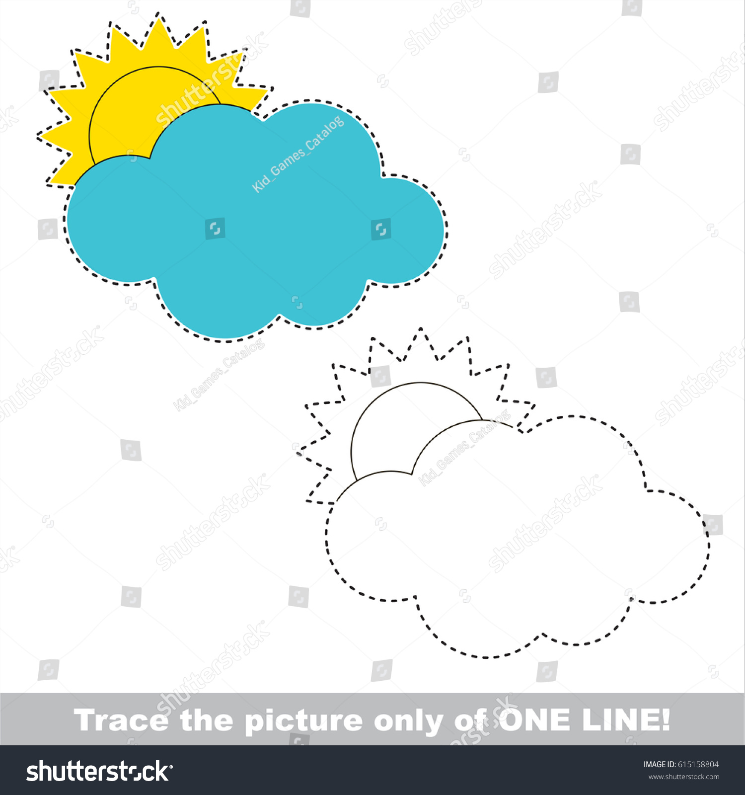 Cloudy Weather Dot Dot Educational Game Stock Vector (Royalty Free ...