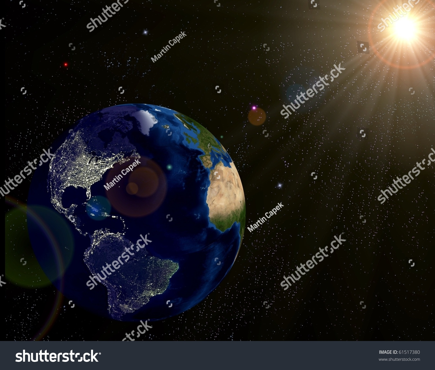 Real Earth Day Night Lights Map Stock Illustration - Earth at night map