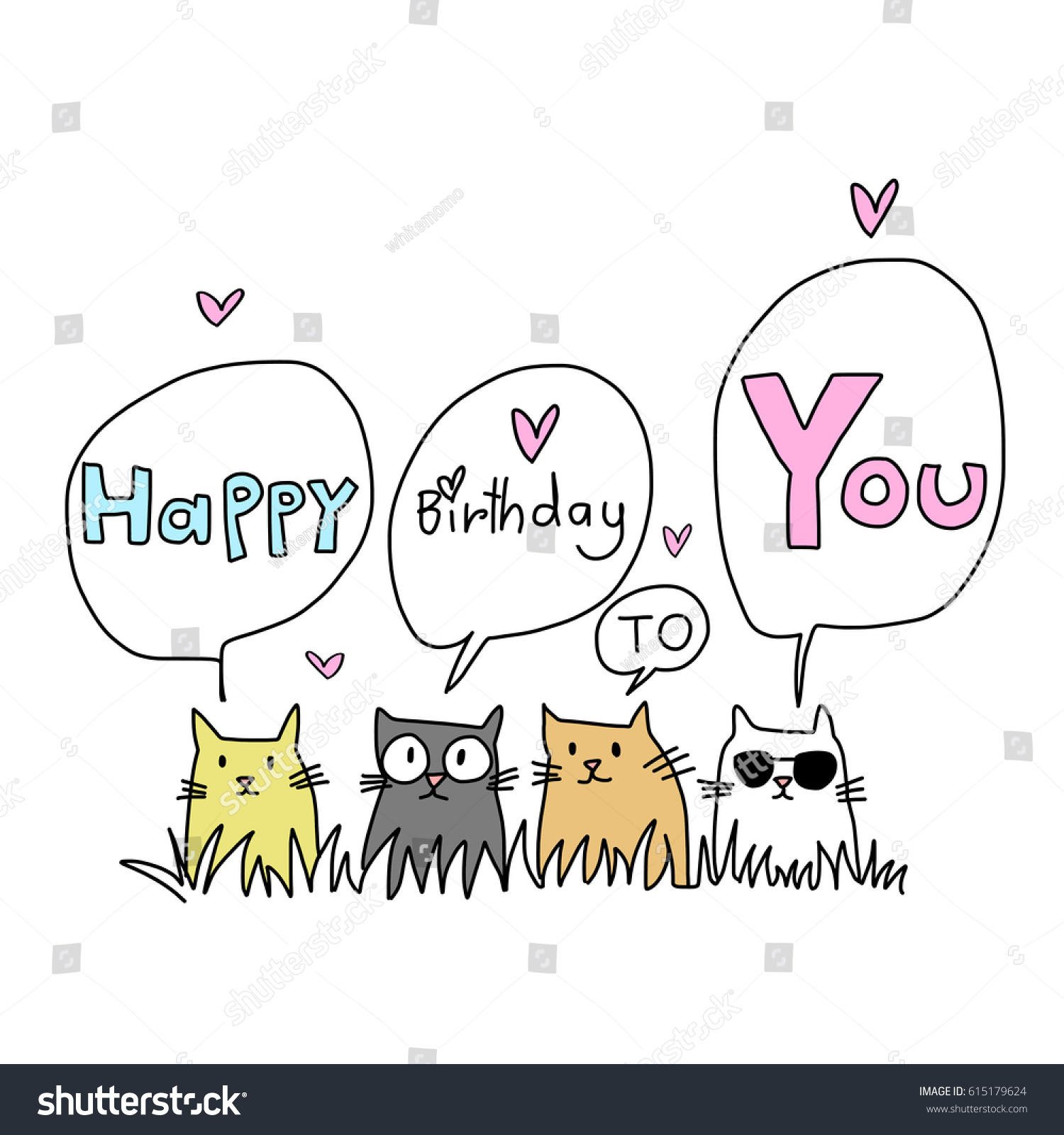 Happy Birthday Card Cat Lover Several Stock Vector Royalty Free