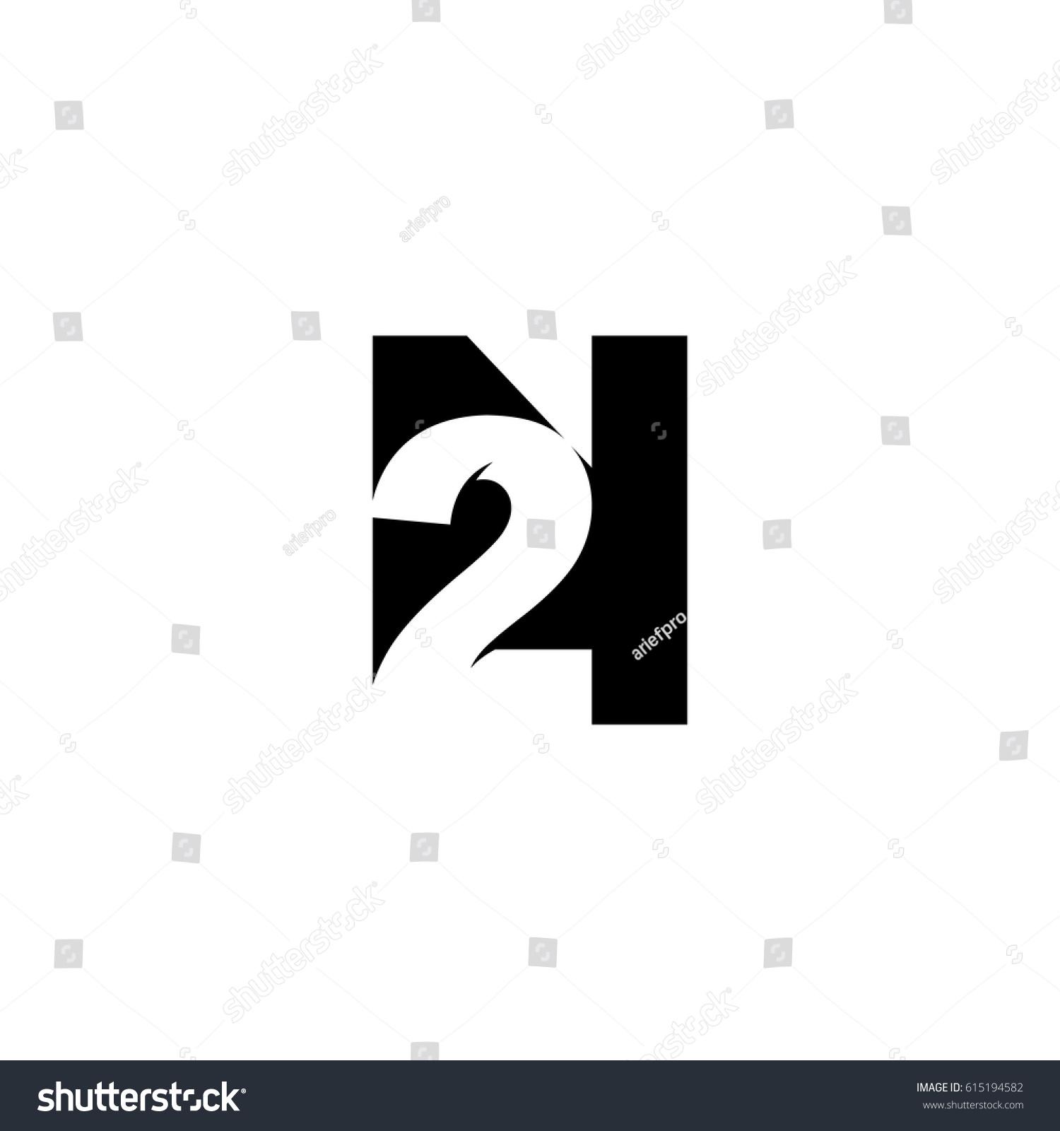 initial letter number logo n 2 stock vector 615194582 shutterstock