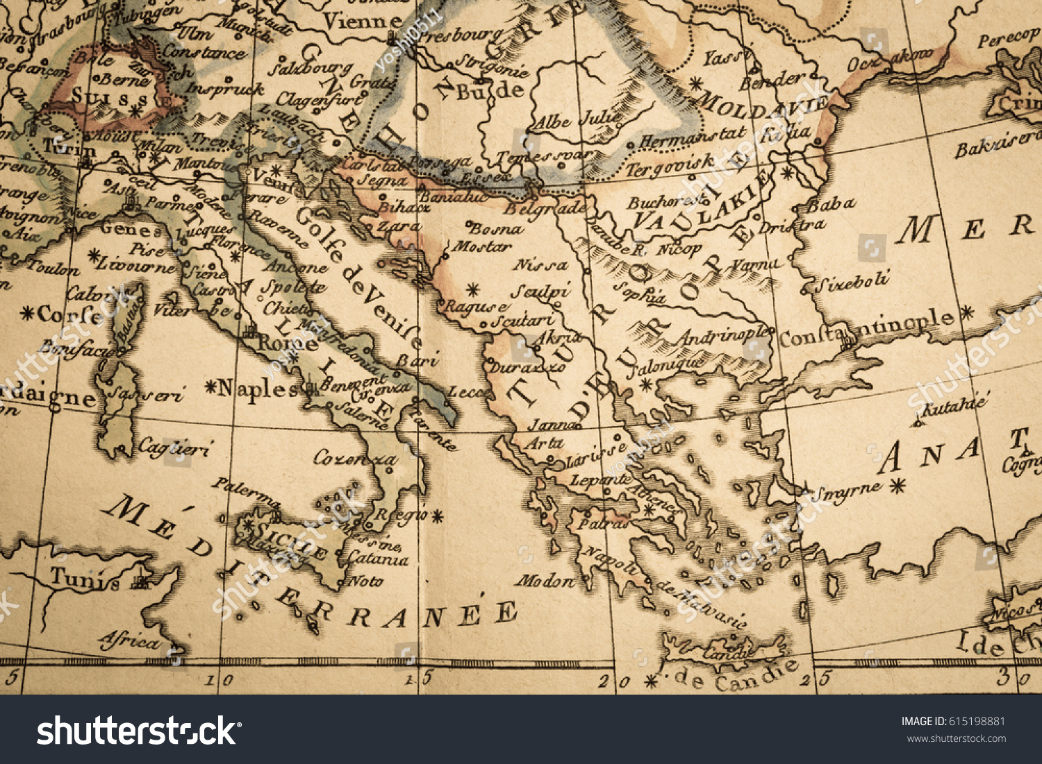 Antique old map italy greece stock photo royalty free 615198881 antique old map italy and greece gumiabroncs Gallery