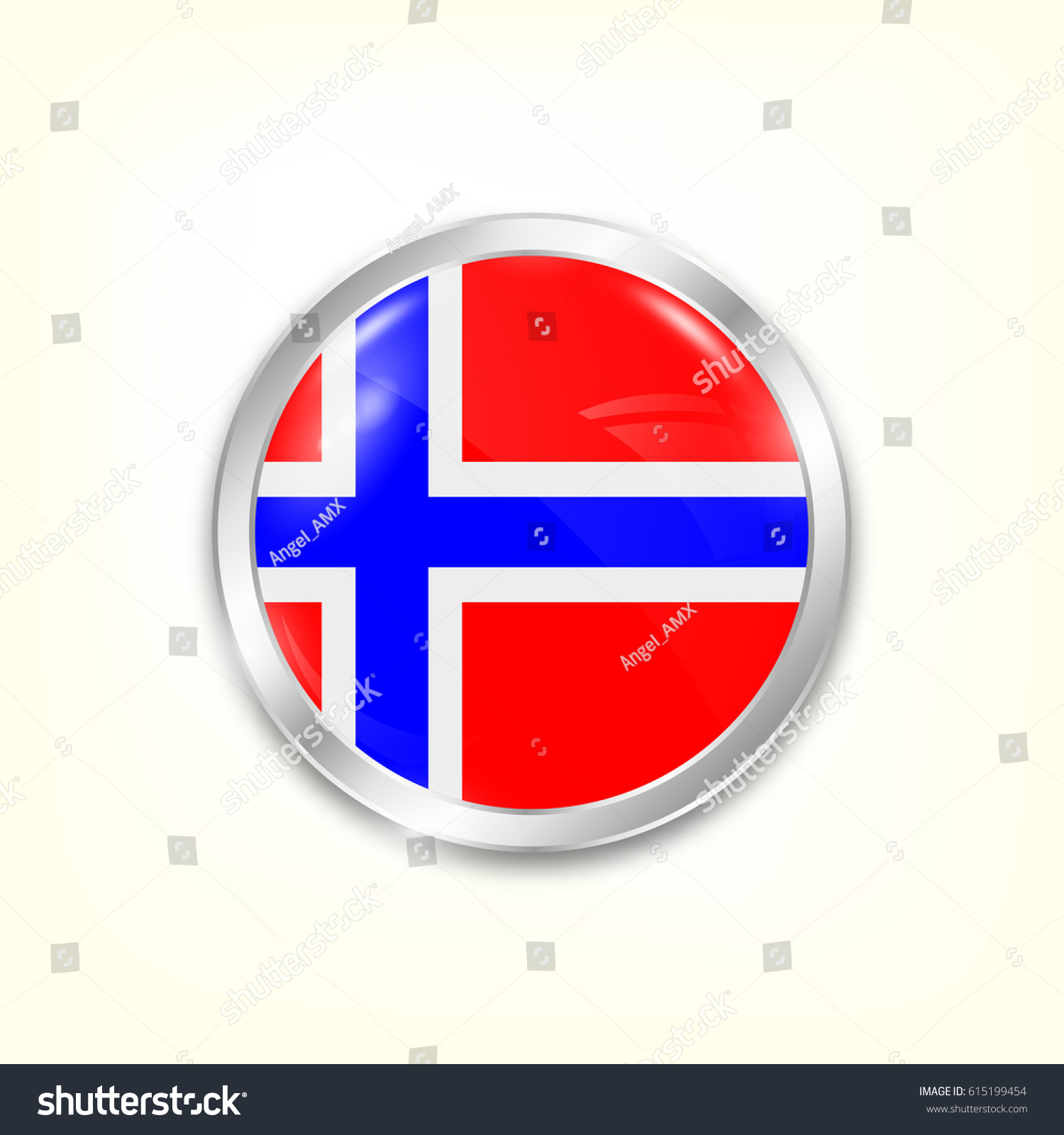 Round Button National Flag Norway Reflection Stock Vector