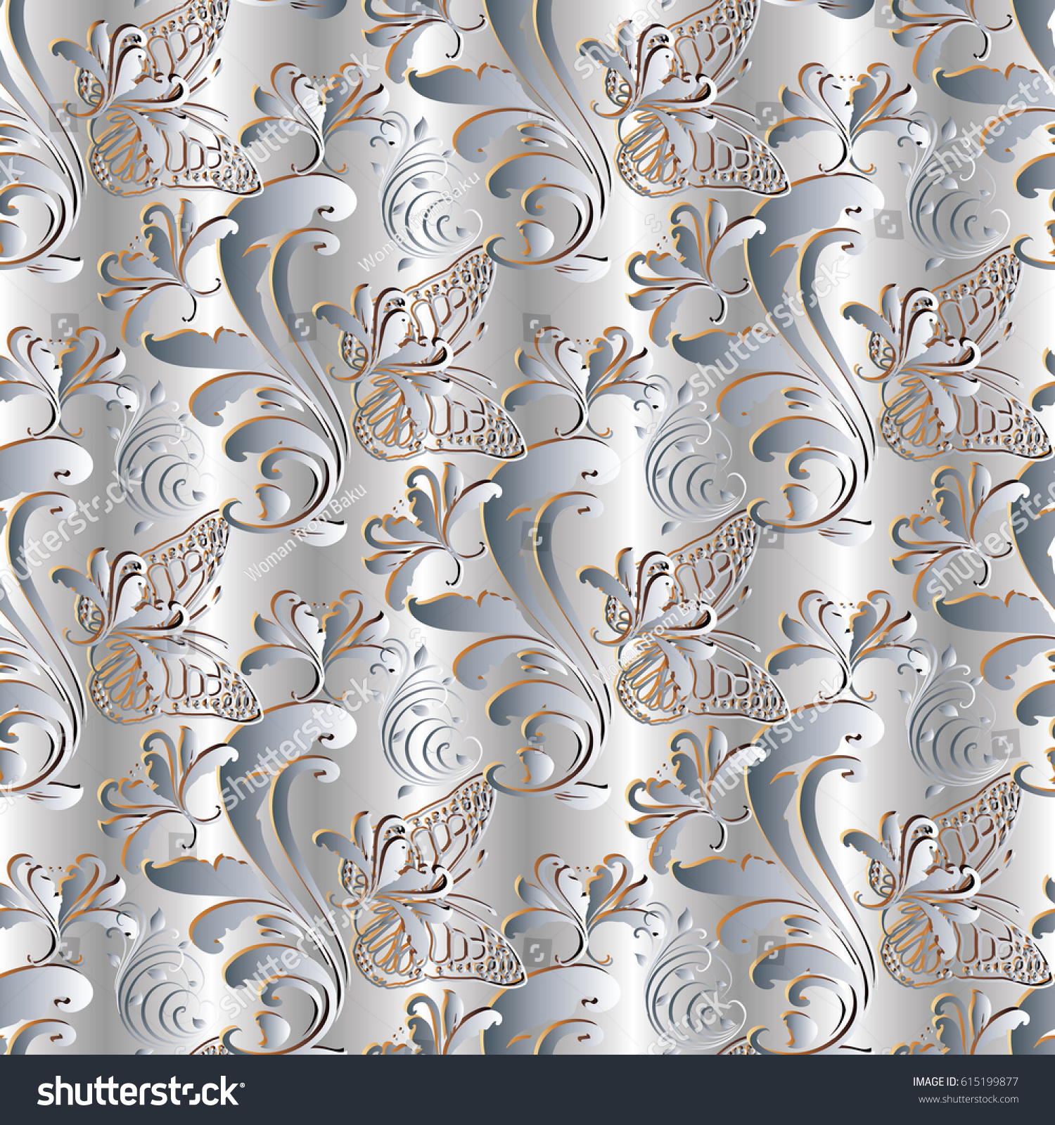 Light Floral Seamless Pattern Silver Drapery Stock Vector Royalty
