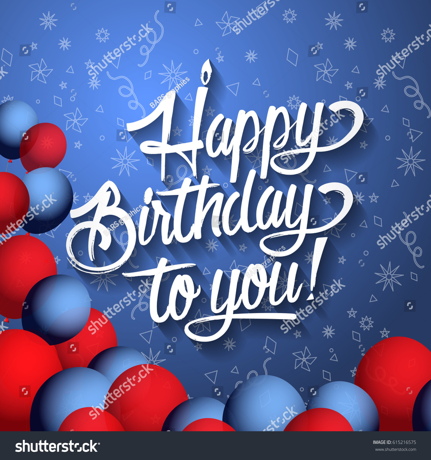 Happy birthday you lettering text illustration stock illustration happy birthday to you lettering text illustration birthday greeting card with red and blue balloons kristyandbryce Choice Image