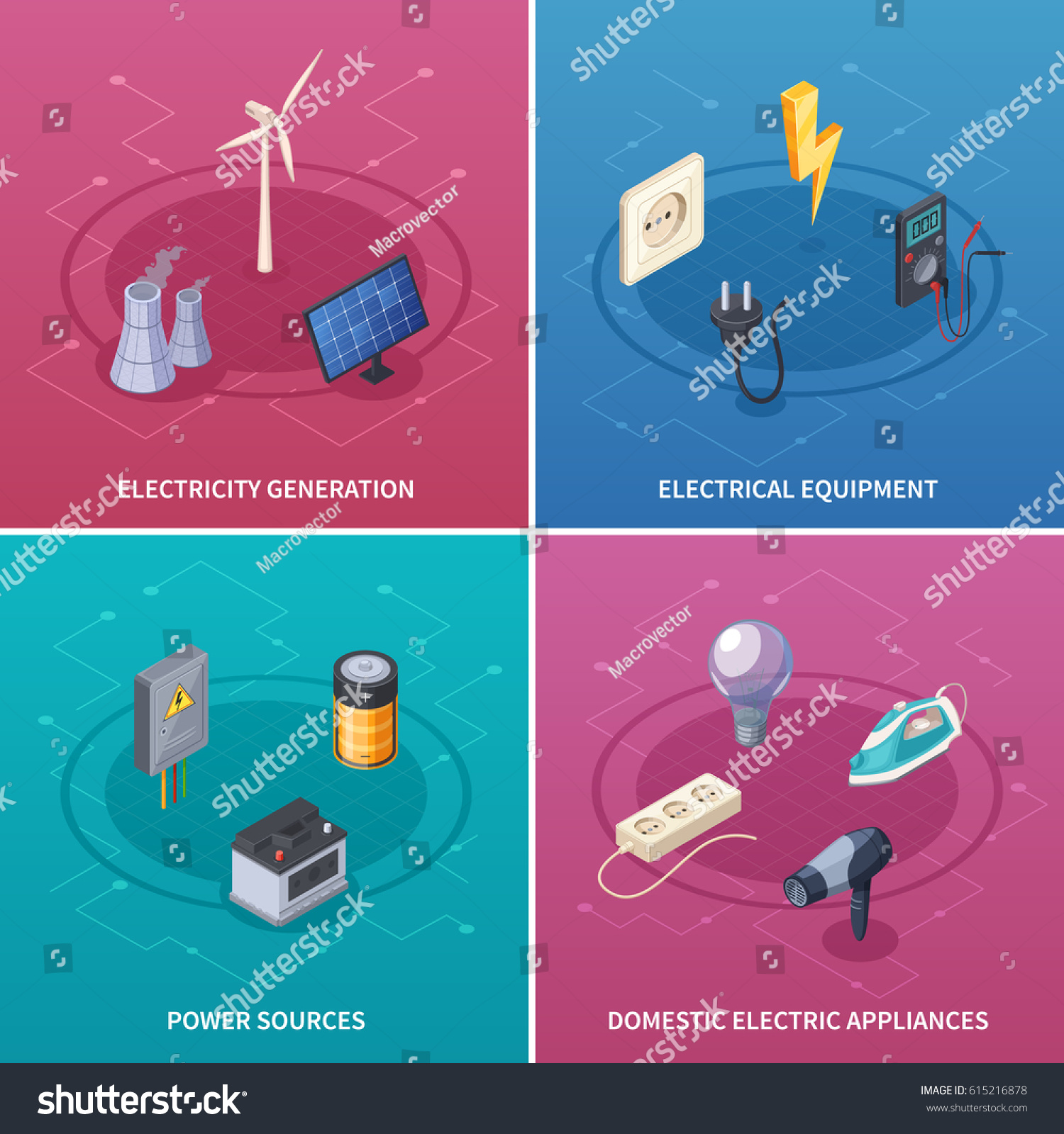 Electricity concept icons set electrical equipment stock vector electricity concept icons set with electrical equipment symbols isometric isolated vector illustration buycottarizona Choice Image