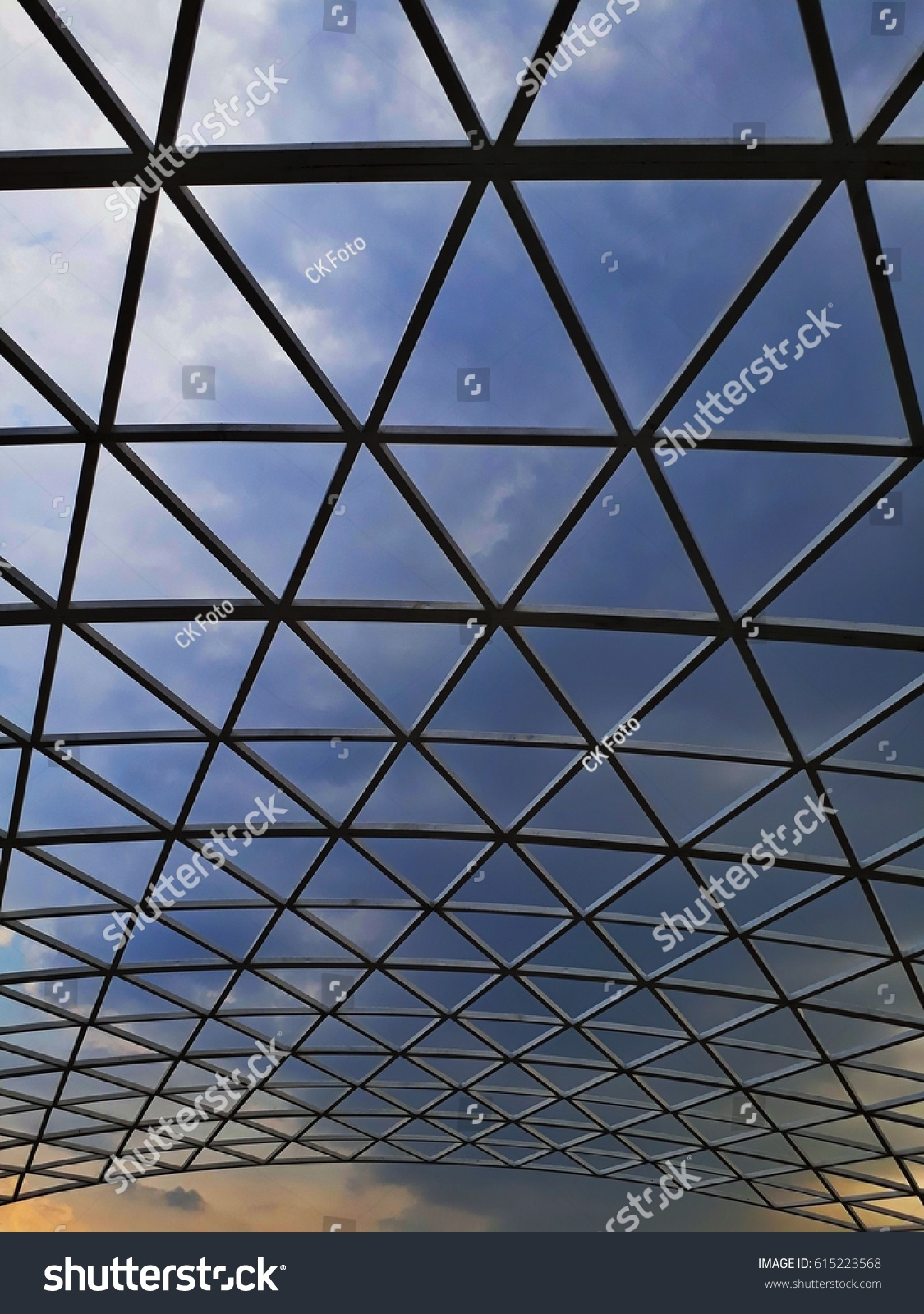 Glass Roof Design See Through Sky Stock Photo Edit Now 615223568