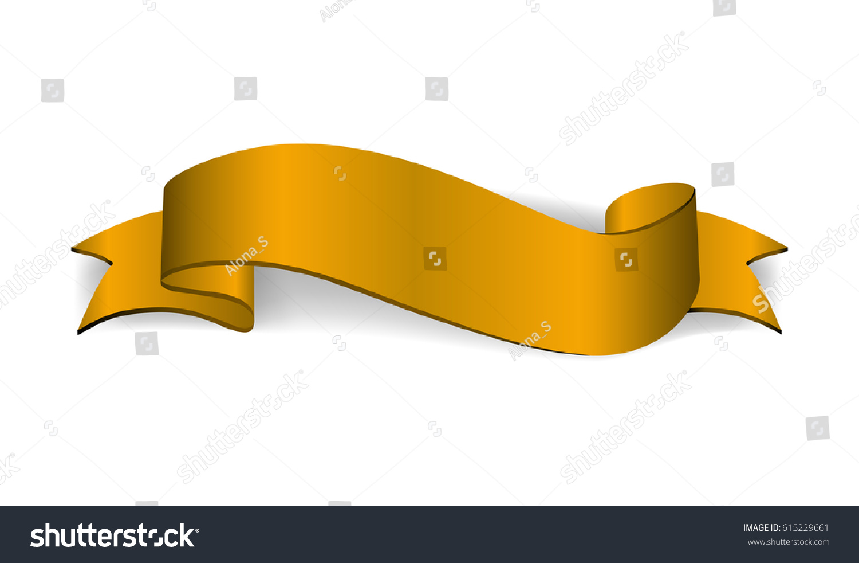 Gold Satin Empty Ribbon Golden Blank Stock Vector (Royalty