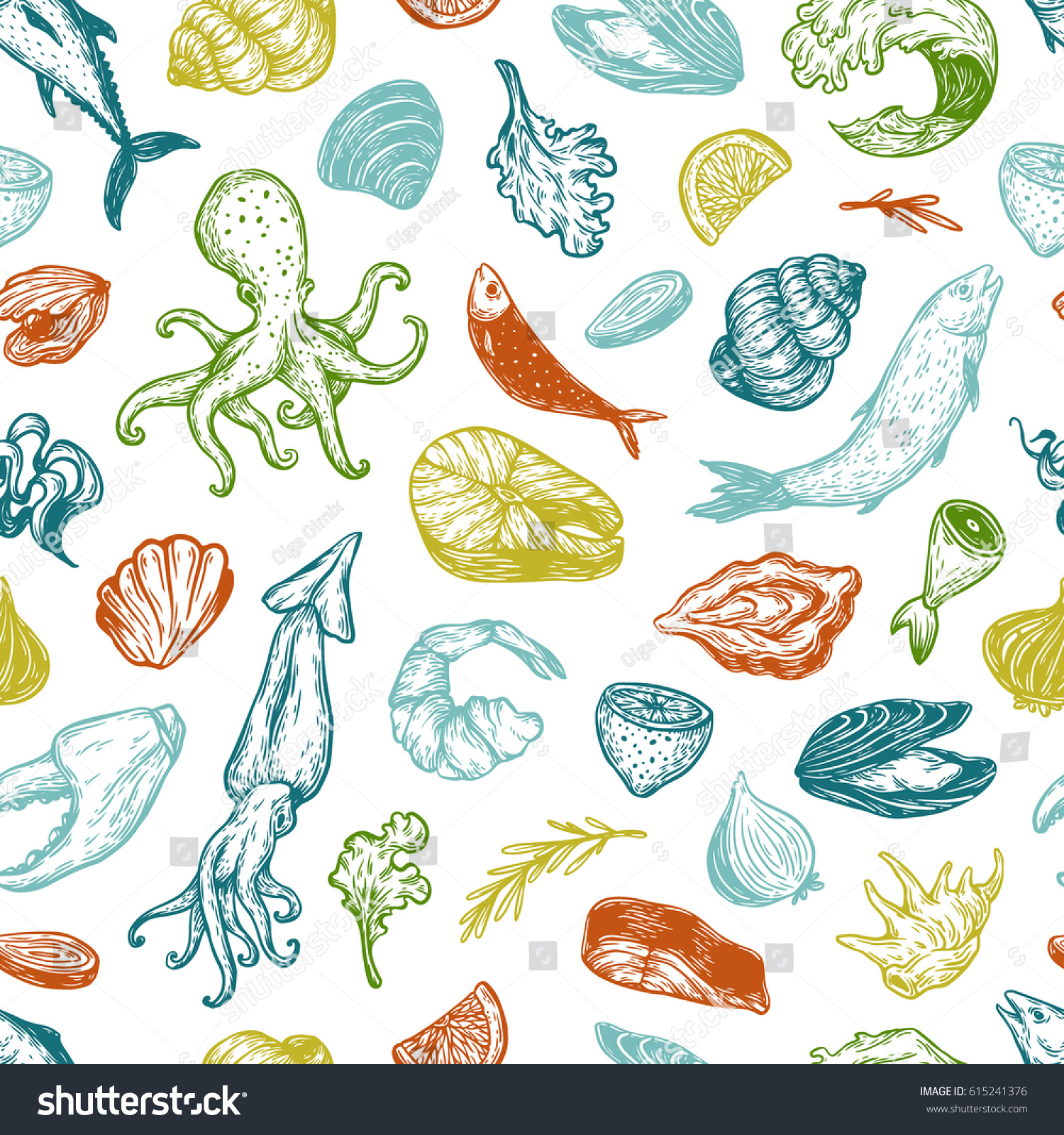 Pattern Seafood Products Different Types Fish Stock Vector Royalty
