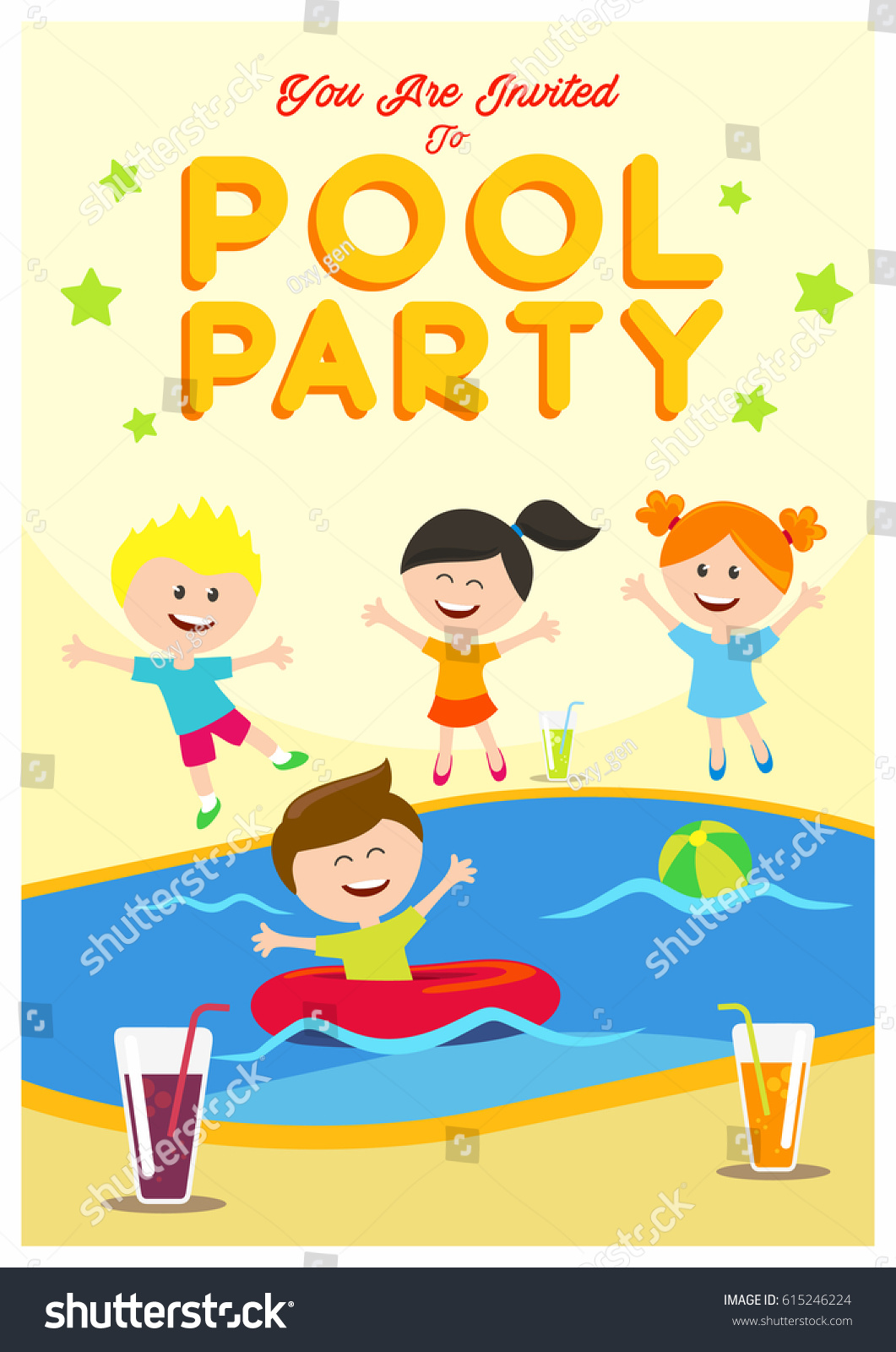Pool Party Invitation Kids Summertime Party Stock Vector 615246224 ...
