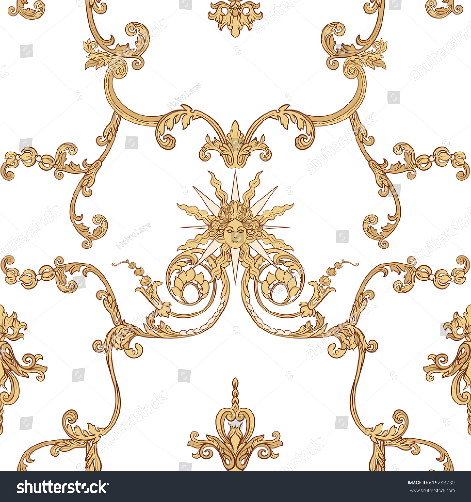 Seamless pattern richly decorated rococo style stock for Rococo decorative style