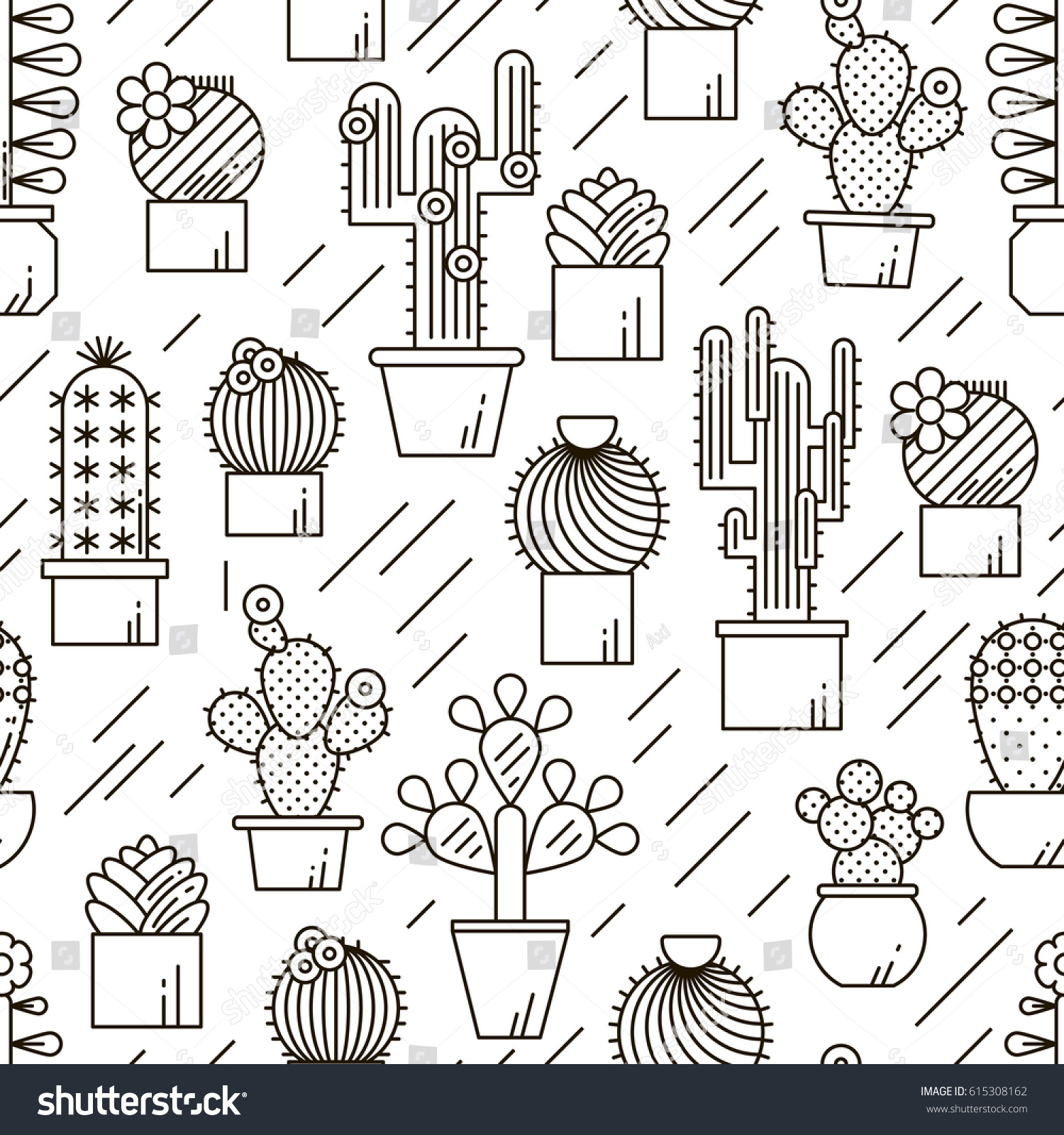 Cactus Succulents Vector Line Seamless Pattern Stock Vector HD ...
