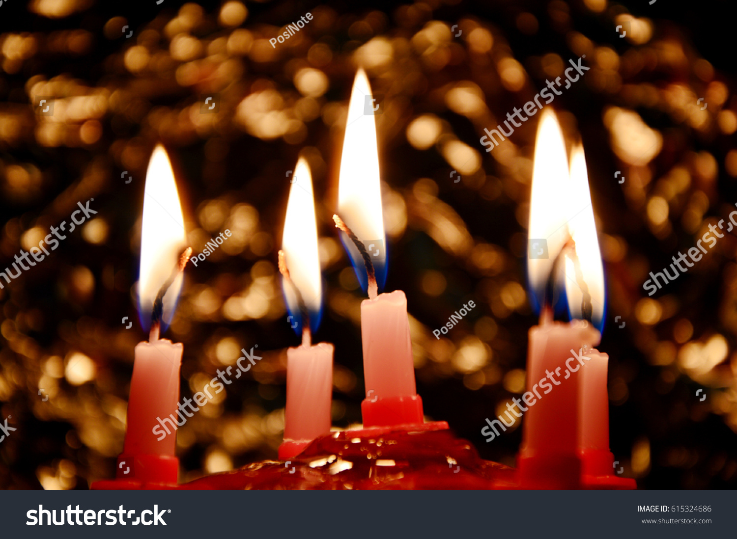 Dark room with candle light - Birthday Cake With Candles Light And Bohke In The Dark Room